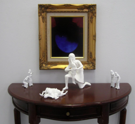 Manifesting Monsters   - Jess TaylorSaturn Devouring His Son (2016), 3D printed plastic, digital print, table, frame, dimensions variable