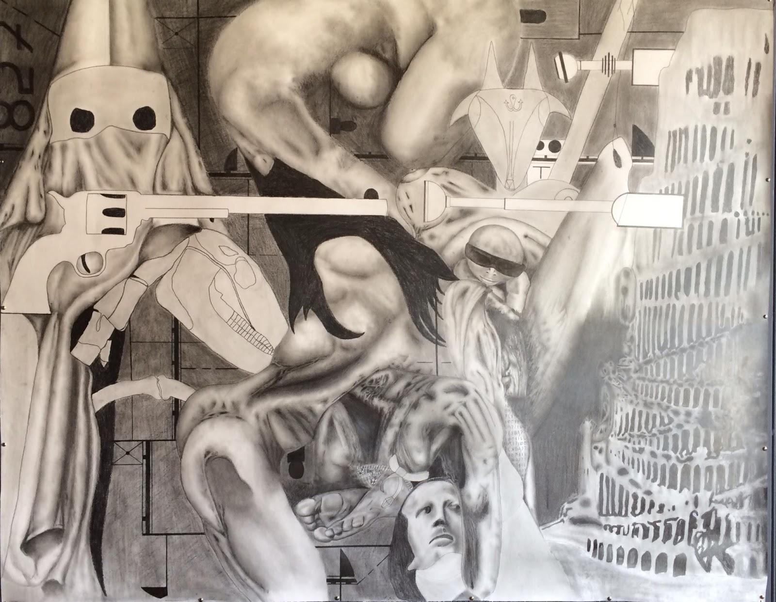 Baker, Miller, Pink - Spencer Reid   Nightshades 5 (2015), Graphite on Paper, 180 cm x 200 cm.