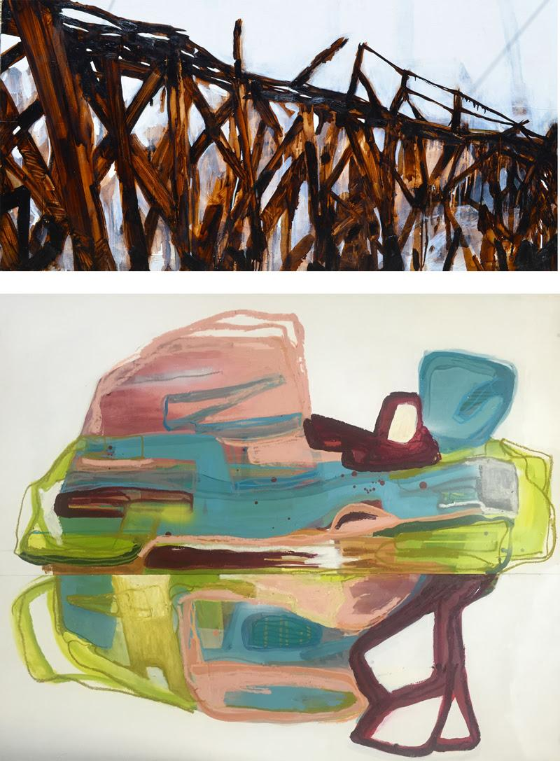 Instinct - John Dean & Kate Gooch (TAS)Above: John Dean, Untitled, tar and acrylic on plywood panel, 180 x 90cm.Below: Kate Gooch, Tapping In, acrylic and mixed media on board, 122 x 90cm.Courtesy of the artists.