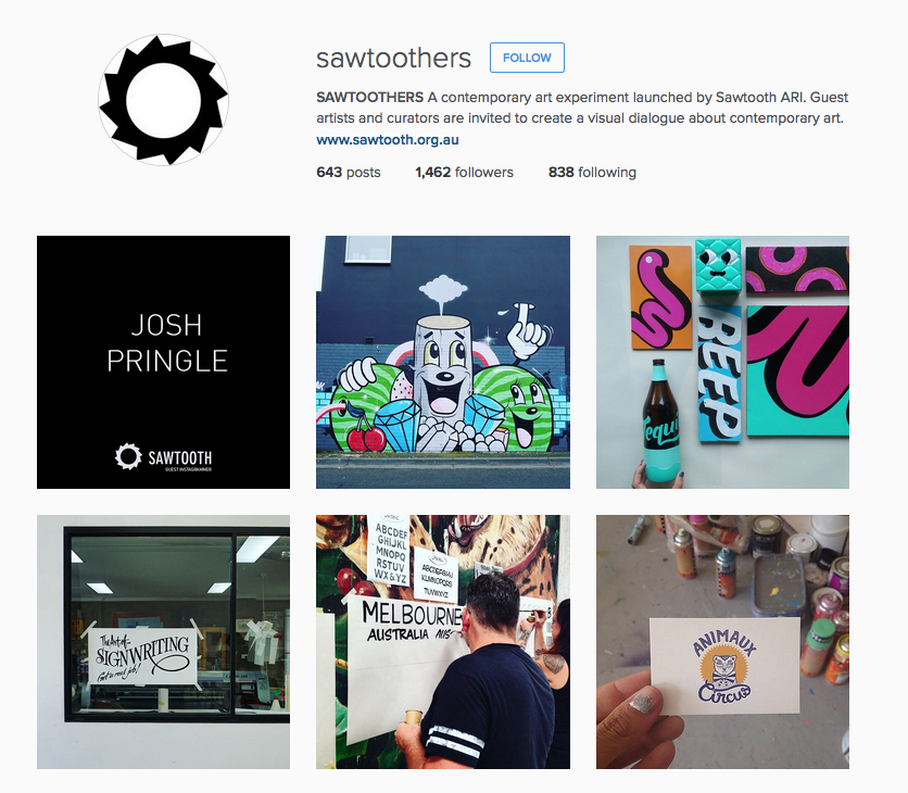 @Sawtoothers >  Each fortnight a guest artist/curator is invited to take over @sawtoothers to create a visual dialogue of their practice and contemporary art.  Currently posting away is Josh Pringle!