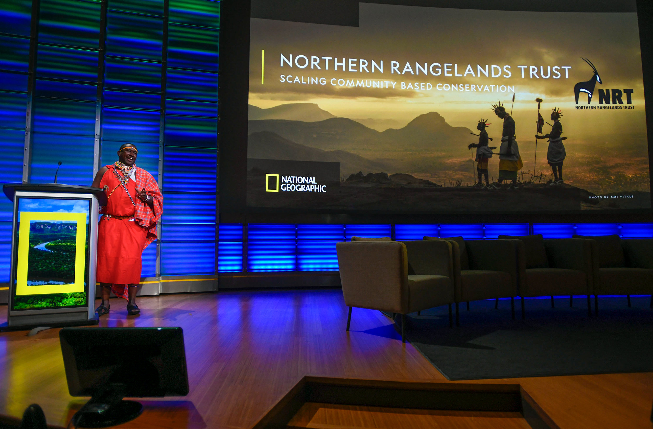 Tom Lalampaa, NRT CEO, speaks to the success of community-led conservation in Kenya. Photo by Riccardo Savi.