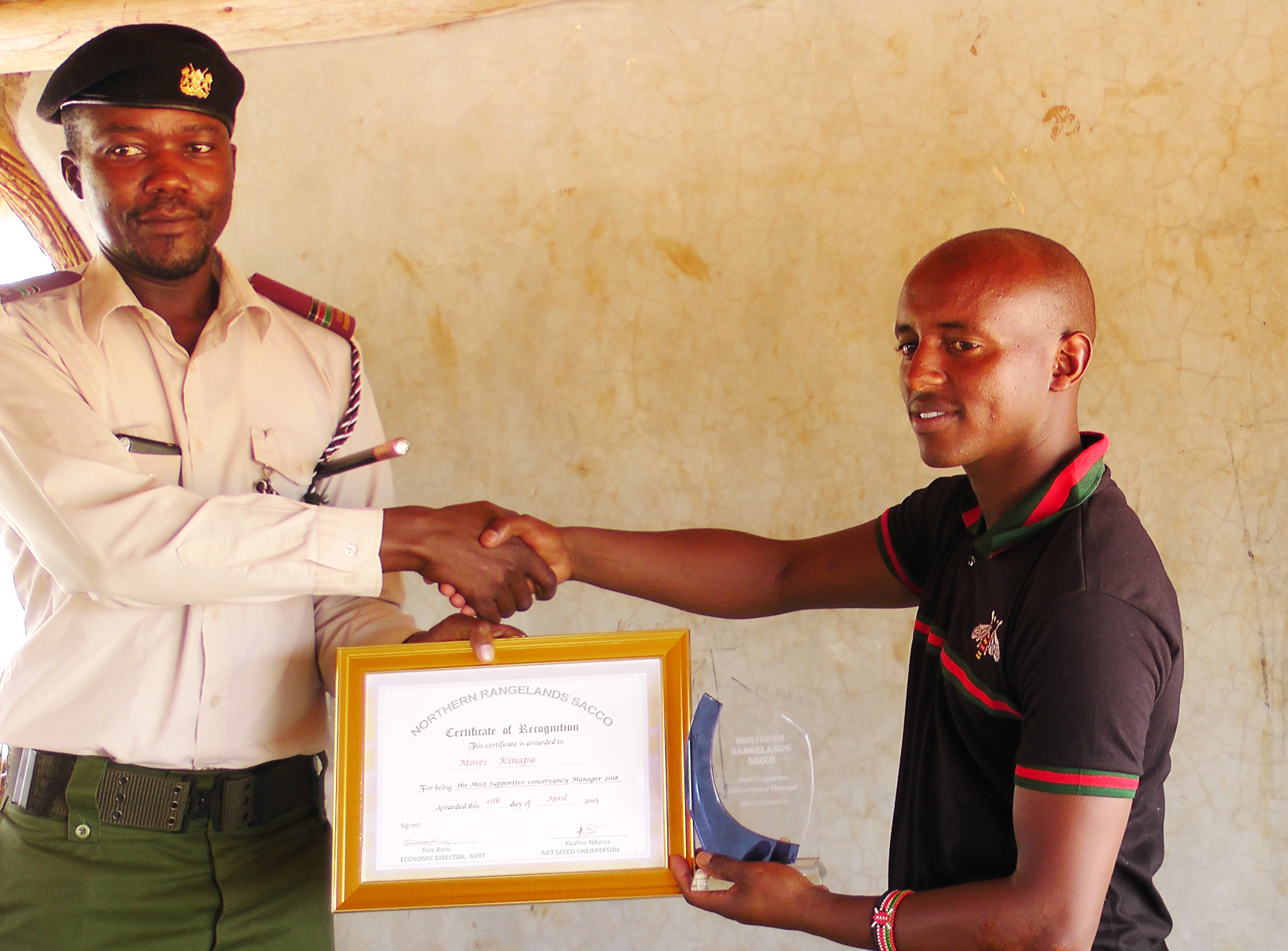 Moses Kinapu of Ltungai Conservancy won 'Most Supportive Conservancy Manager' in the SACCO