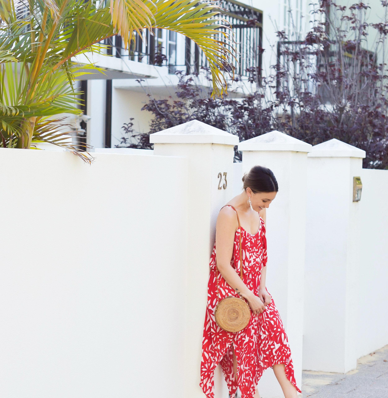 Dilemmas Maxi Dress    Summer Nights Rattan Bag    Daisy Earrings from Ilyas Honey Jewellery    Dakota Heels