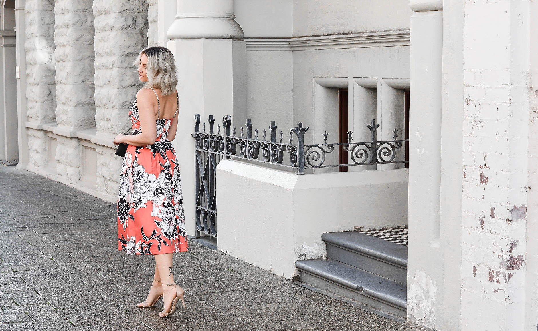LOOK ONE - SUMMER DRESSY:  Ember Blooms Dress  from  Lock & Key Clothing ,  Tony Bianco  Heels &  Mimco  Pouch