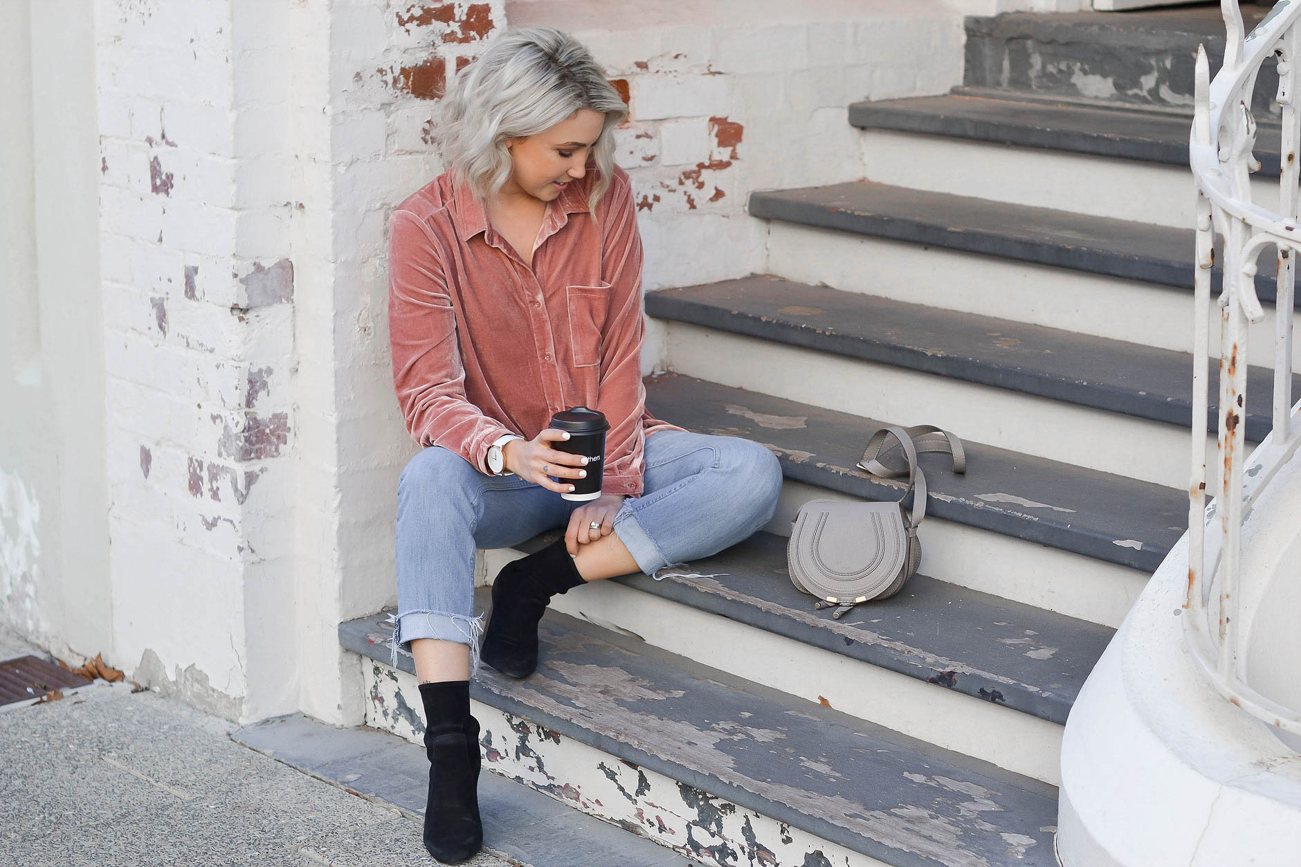 Outfit: Studio Velvet Shirt from  Lock & Key Clothing , Kick Crop Jeans from  Lock & Key Clothing , Demi Suede Boots from  Lock & Key Clothing , Why Watches Watch,Marmont Belt from  Gucci and Chloe Bag from  MatchesFashion