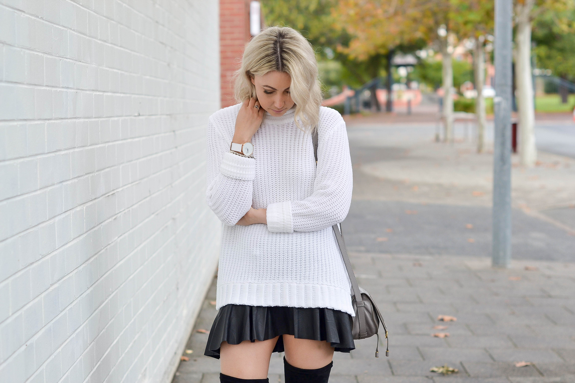 Outfit:Shilla  Divine Jumper from  Lock & Key Clothing ,Faux leather skirt from Zara,Chloe Bag from Matches Fashion, Why Watches Watch and Mollini  Laurit Boots from  Lock & Key Clothing