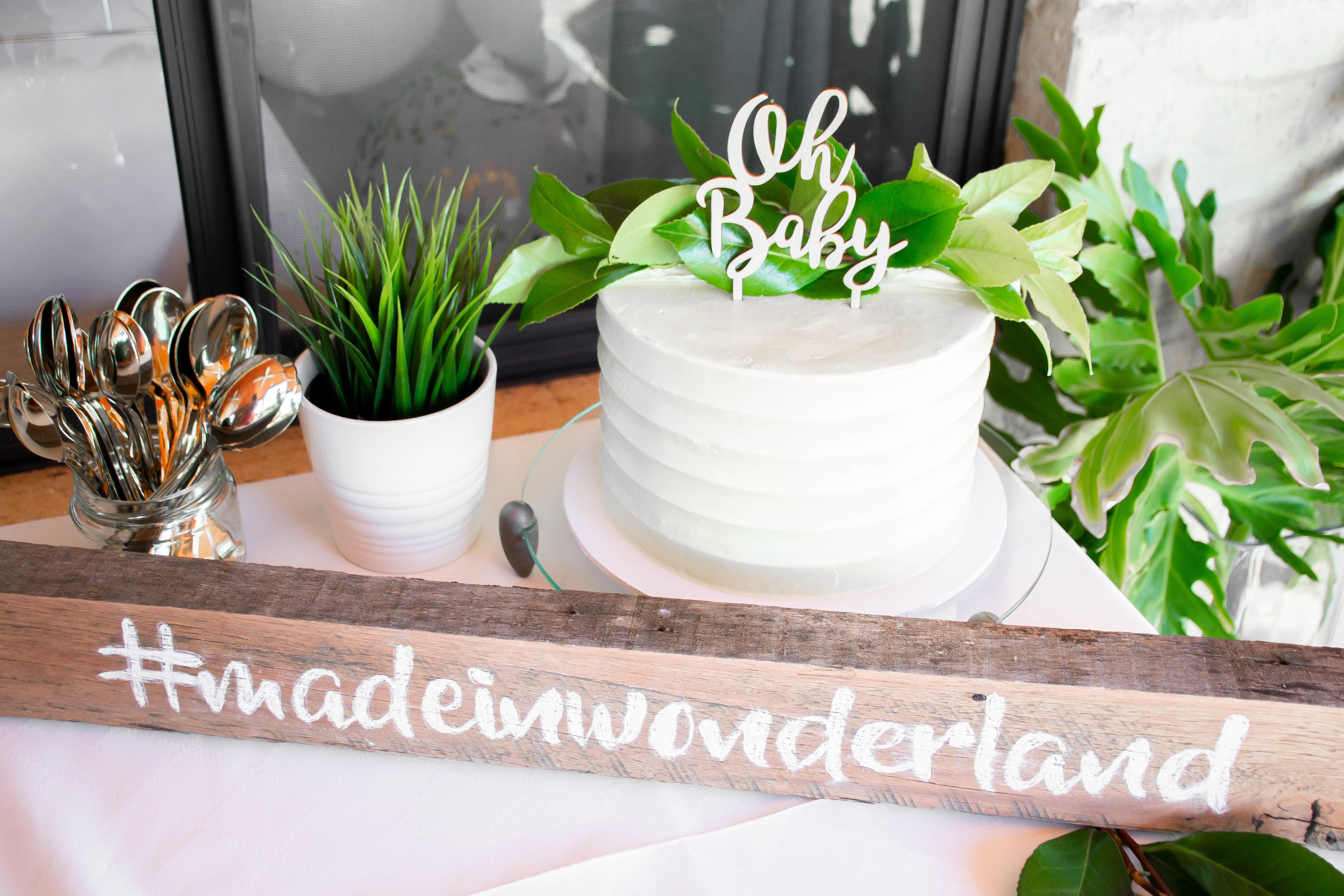Cake by  Dawns Dreamy Cakes , Greenery from  Ikea , hashtag wood piece handmade.