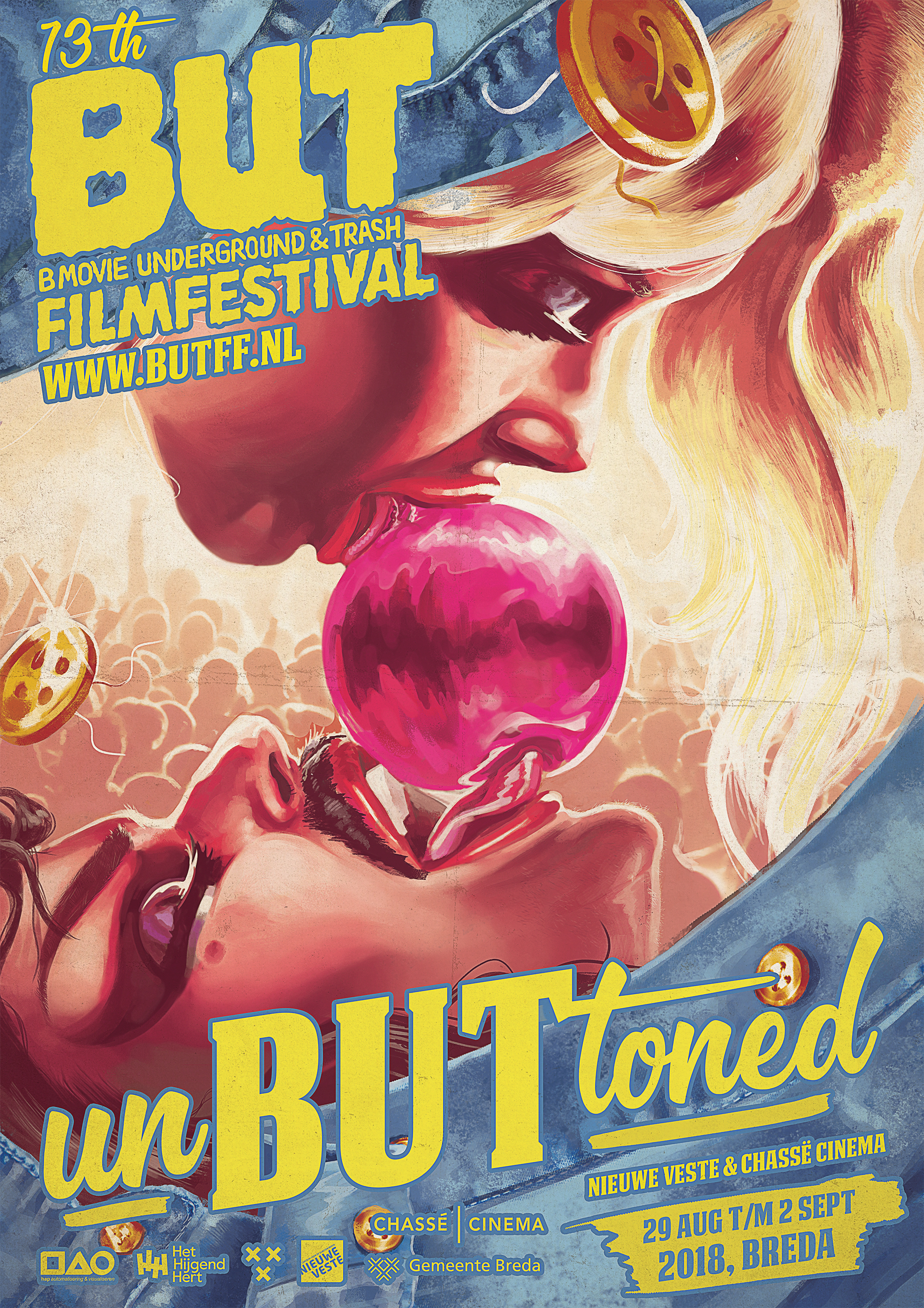 BUT Film Festival 2018UNBUTTONED - After having worked for BUTFF for several years, seeing the amazing illustrated posters they would use, I was given the opportunity to create one myself. With this year's theme being an ode to the sexploitation genre, featuring highlights of queer and soft-porn films, my aim was to make a subtle yet sexually explosive image. For me, this poster also serves as an ode to the hand-painted posters that would hang in the dark alley's of the 110th street of New York in the 60's & 70's.www.butff.nl