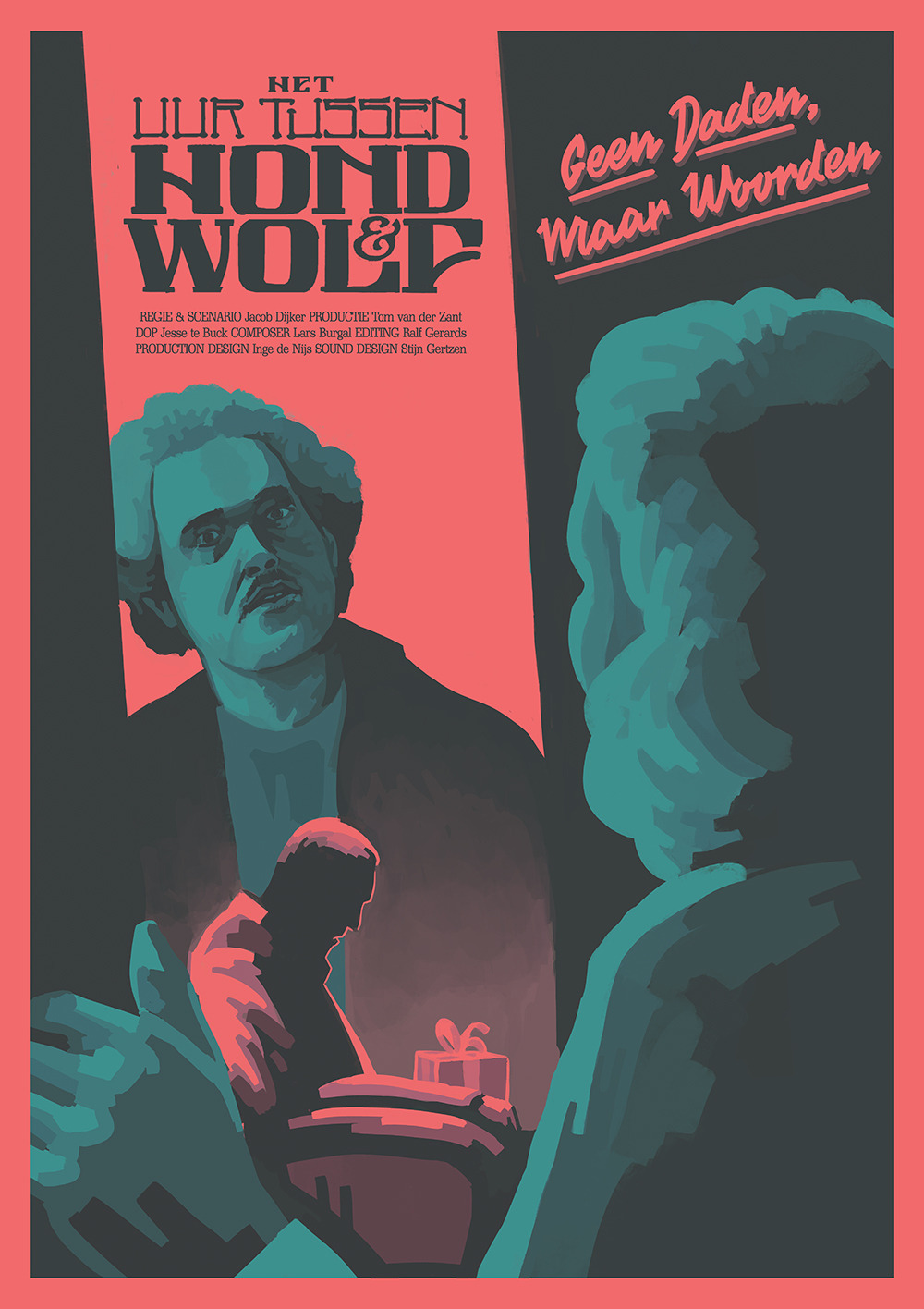 Het Uur Tussen Hond & Wolf - For this film poster I was asked to make an eerie poster that carried references to Dutch Socialist Party Posters from the seventies.The plotline of the film goes as follows:A retired politician who's still active as a political writer gets a surprise guest one Sunday Afternoon. The guest seems to be a great fan of the writer, yet brings an unsettling message to the table.My goal here was to use broad strokes, along with only three colors, while rendering the messenger in an awkward, untrustworthy way.The film starred on the NFF, you can read more about it here.