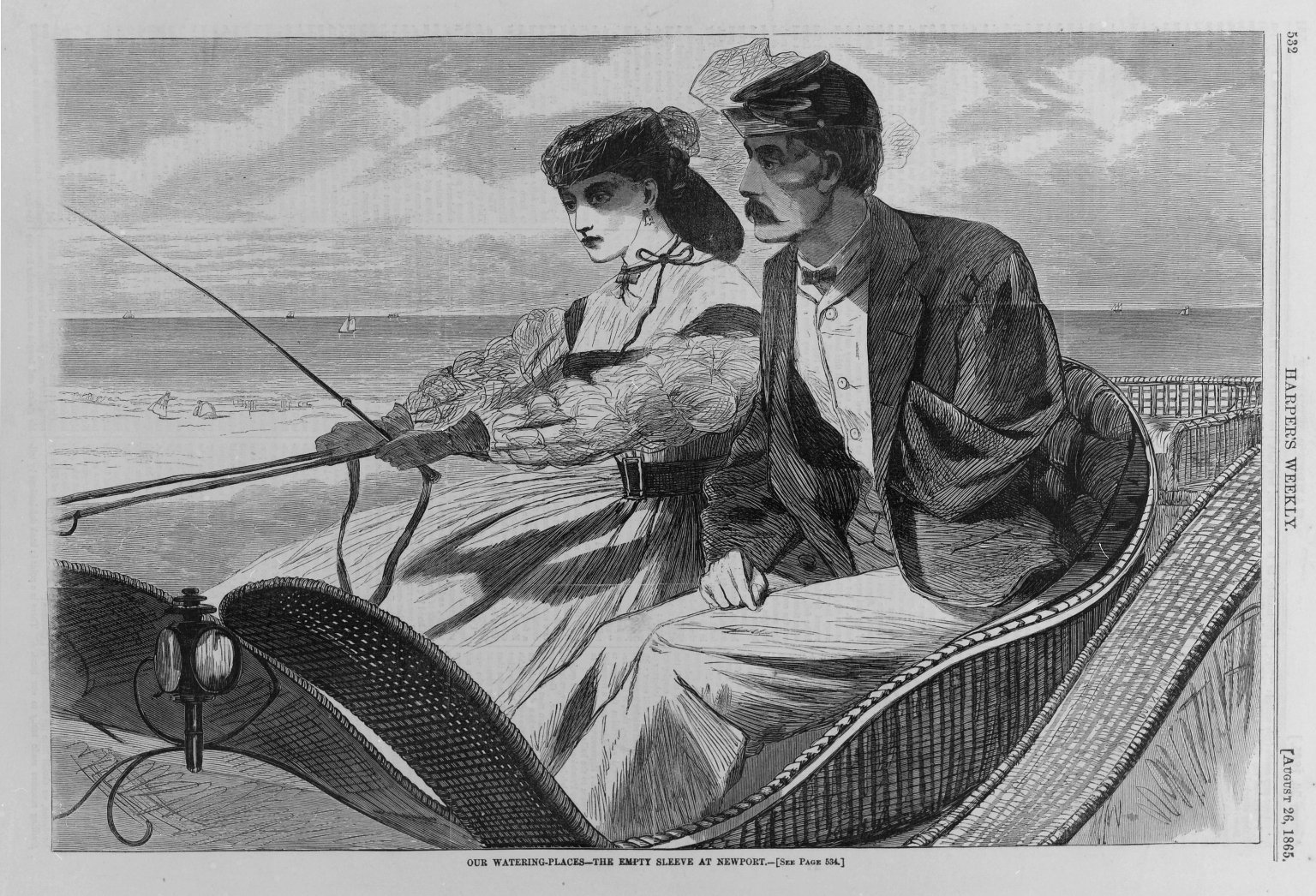 """This image accompanied a story in  Harper's Weekly  in which a captain returns home from war to find that his wife has learned to drive a horse and buggy. That's probably for the best, given that he's now missing an arm - a common sight after the Civil War. But as you can see, neither of them looks happy. Maybe that's because this husband struggles with his wife's newfound independence. Or maybe it's because her corset is cinched much too tight.   """"Our Watering Places--The Empty Sleeve at Newport,"""" 1865 by Winslow Homer (American, 1836-1910). Wood engraving. Courtesy of Brooklyn Museum, Gift of Harvey Isbitts."""