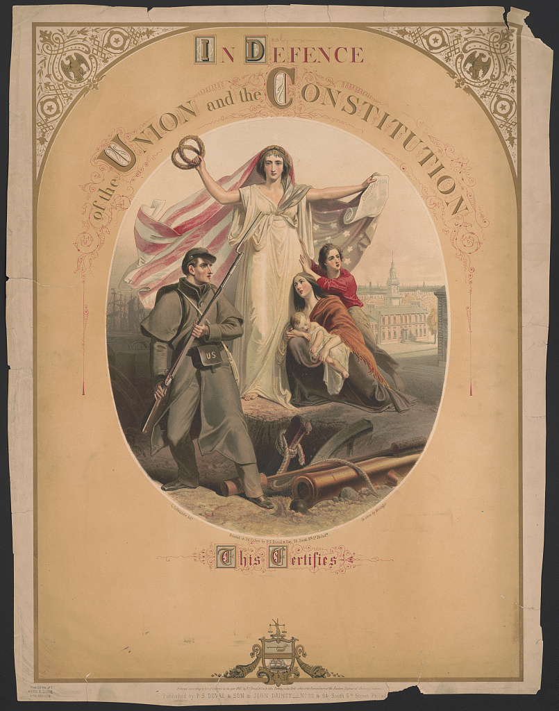 """Women were often used as promotional tools to push men into enlisting: the country itself was personified as an angel-looking woman. Look at you, guy! Saving all the ladies and their babies! Such posters give us a glimpse into how men viewed their lady folk in this era.    """"In Defense,"""" Courtesy of the Library of Congress"""