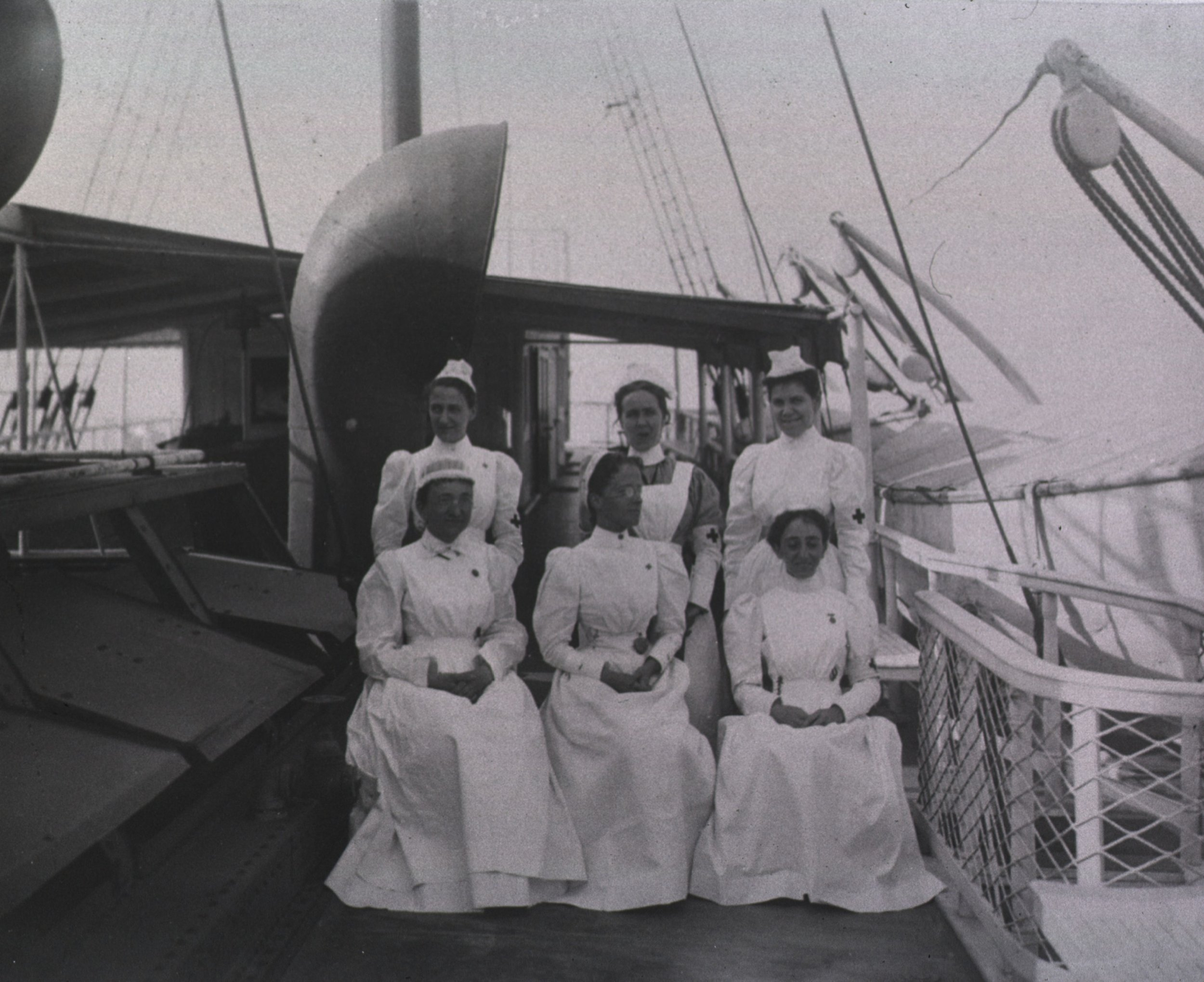 By 1898, lady nurses had that signature white uniform going, and they were becoming a more accepted fixture on the wartime nursing scene.   U.S. Hospital Ship Relief during the Spanish American War. Courtesy of the National Museum of Health and Medicine