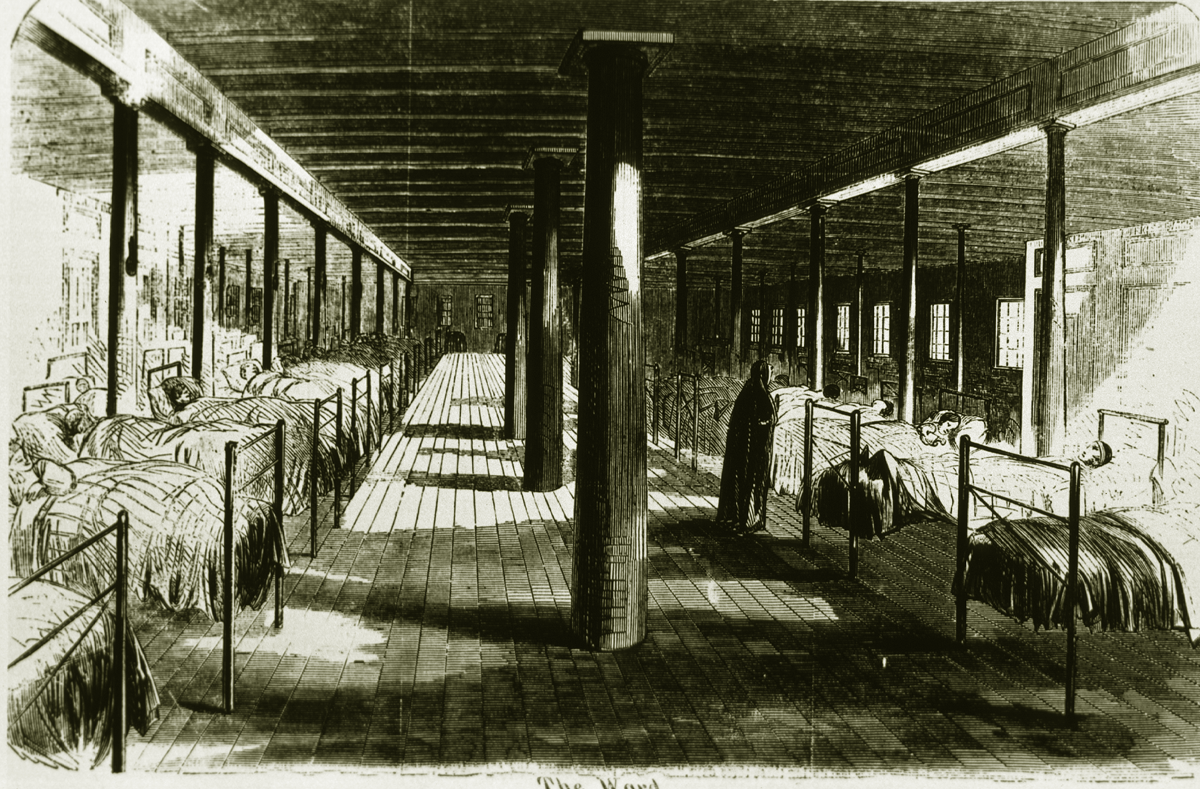 """An illustration of the inside of the hospital ship U.S.S. Red Rover, the first Union Naval hospital ship. Nurse Ann Stokes, an escaped enslaved woman, joined the ship on 1863 and become a nurse there.      Ann Stokes was first taken aboard a Union Naval vessel as """"contraband"""" in 1863. As was typical of most former slaves, Stokes could not read or write, but was hired as a nurse. She worked under the direction of the Sisters of the Holy Cross nuns aboard the U.S.S. Red Rover ,  Stokes became the first African American woman to serve on board a U.S. military vessel and was among the first women to serve as nurses in the Navy.   Harper's Weekly, May 9, 1863"""