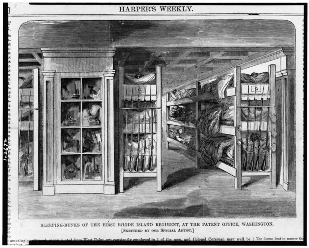 This illustration from Harper's Weekly shows how poorly equipped the army was for their wounded. In the beginning, soldiers had to bunk in places like the Patent Office, where Clara worked. There was PLENTY of room for Clara to step in and make a difference.   Wikicommons
