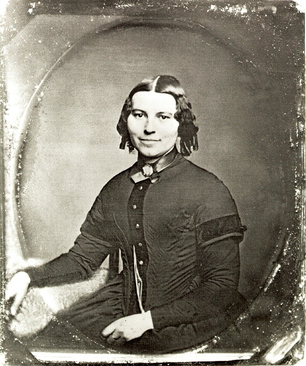 This is the earliest-known photograph of Clara Barton. It was probably taken in Clinton, New York in 1850 or 1851 while she was a student at the Clinton Liberal Institute, riding around on horseback with dapper math teachers.    Courtesy of Clara Barton National Historic Site/National Park Service.