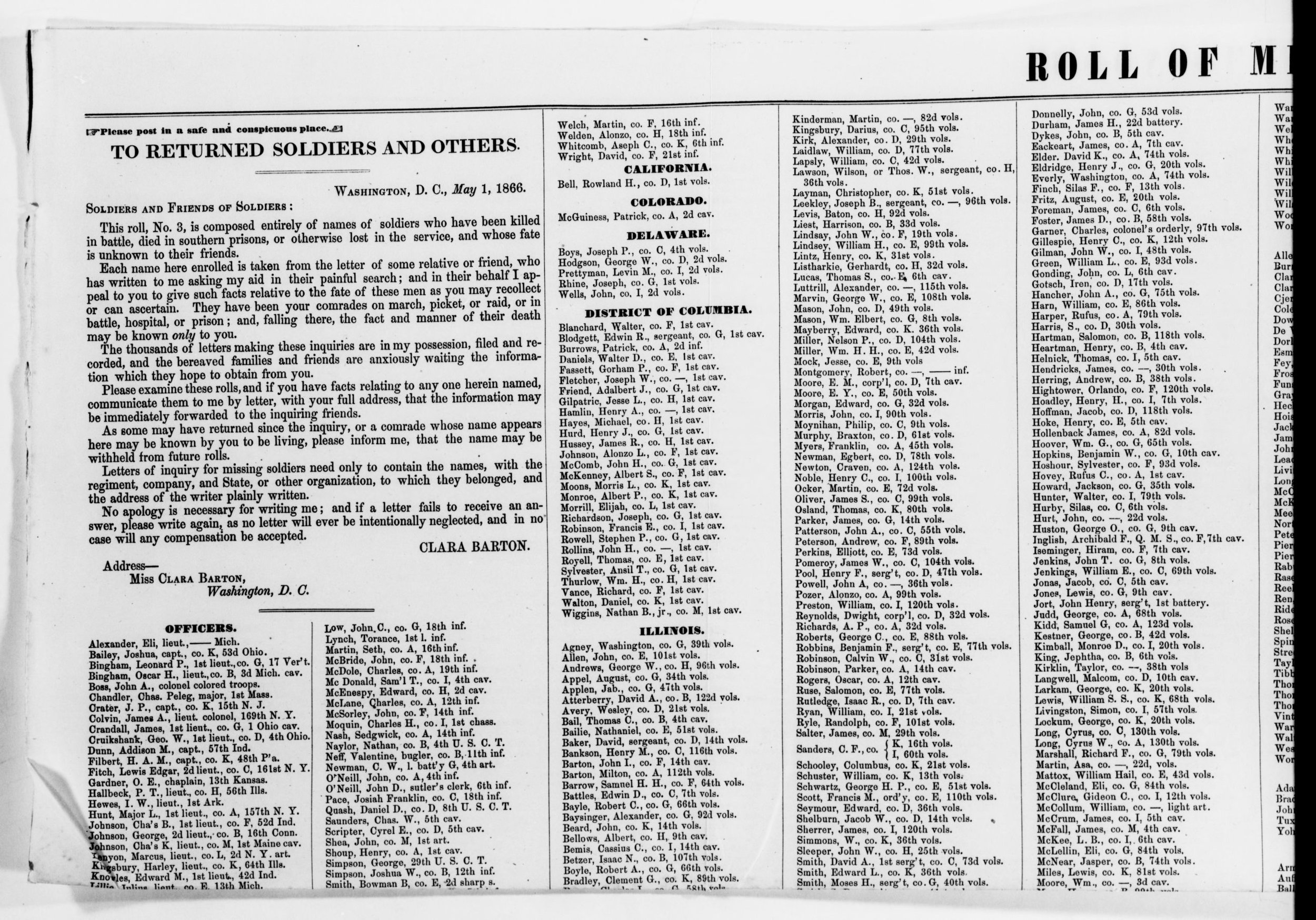 """The Office of Correspondence with the Friends of the Missing Men of the U.S. Army, AKA Clara and Co., published lists of names in national papers to try and get the word out to families about what had happened to their loved ones. It was also a good way to request information from readers, which helped Clara find even more. Can you IMAGINE publishing your personal email address in a newspaper, telling people to just write you if they have anything to say? Chaos. You can see in the language, though, how much she wanted to encourage people: """"No apology is necessary for writing me; and if a letter fails to receive an answer, please write again..."""" She did this for years, spending all of her own money...and making none for her services. From the Clara Barton papers, courtesy of the Library of Congress."""