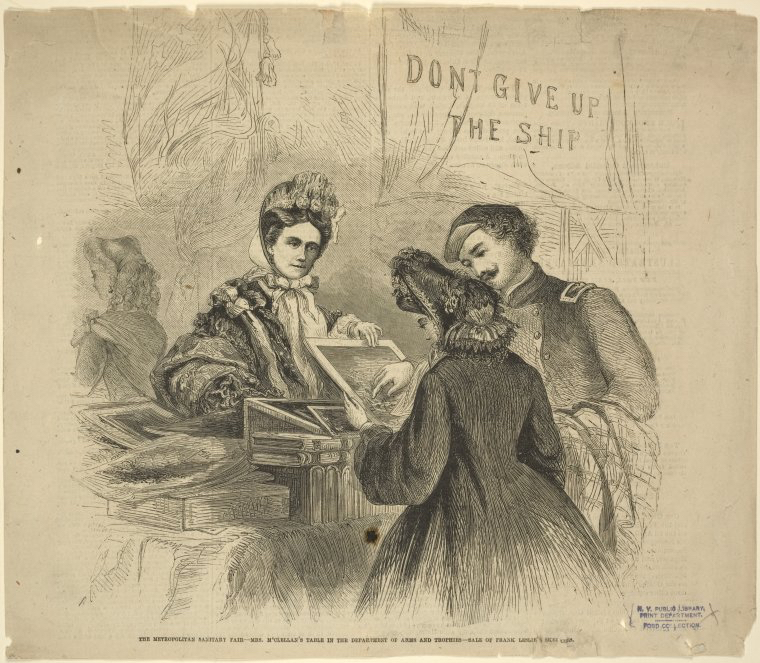 Ladies raised millions of dollars for care of the soldiers at sanitary fairs like this one. And just look at that bonnet! - Courtesy of The Miriam and Ira D. Wallach Division of Art, Prints and Photographs: Print Collection, The New York Public Library.