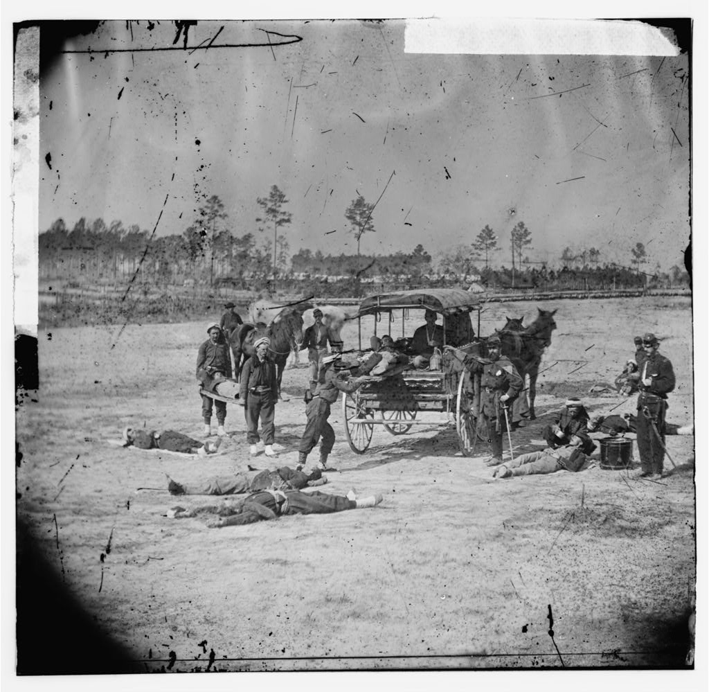 When we talk about ambulances in the Civil War, THIS is what we're talking about. How well do you think a very wounded soldier would do on the back of this? How long do you think it would take for it to get to a hospital? Yeah…not pretty.   Photographed by William Frank Browne. Courtesy of the Library of Congress.     Browne, William Frank, photographer