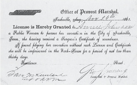 Congrats, Bettie Duncan! You are officially free of venereal diseases, and have an official piece of paper to prove it.  During the war, prostitutes in Nashville, TN were subject to the first experiment in regulating prostitution in America. Though it was stringent, and not always fair on the ladies, regulating their trade had a lot of benefits - bringing their business out into the light meant better health and better treatment.   Courtesy of the National Archives and Records Administration