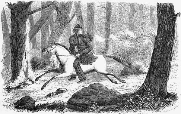 An illustration of Sarah Emma Edmonds deserting the army. She didn't feel that it was a crime to do so, and she was right; women weren't supposed to be there in the first place. And yet she still served her country, and went on to write all about it in her best-selling memoir.   From her book, Nurse and Spy in the Union Army, 1864.