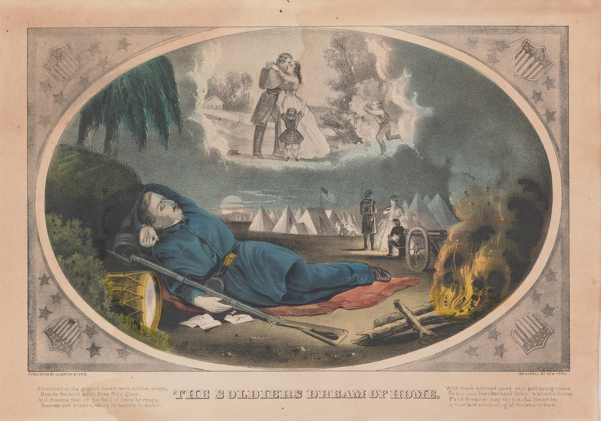 A soldier, napping and dreaming of his lady love at home. Little does he know that there might be a lady napping beside him, or boiling salt horse next to that nearby fire.   Courtesy of The Huntington Library
