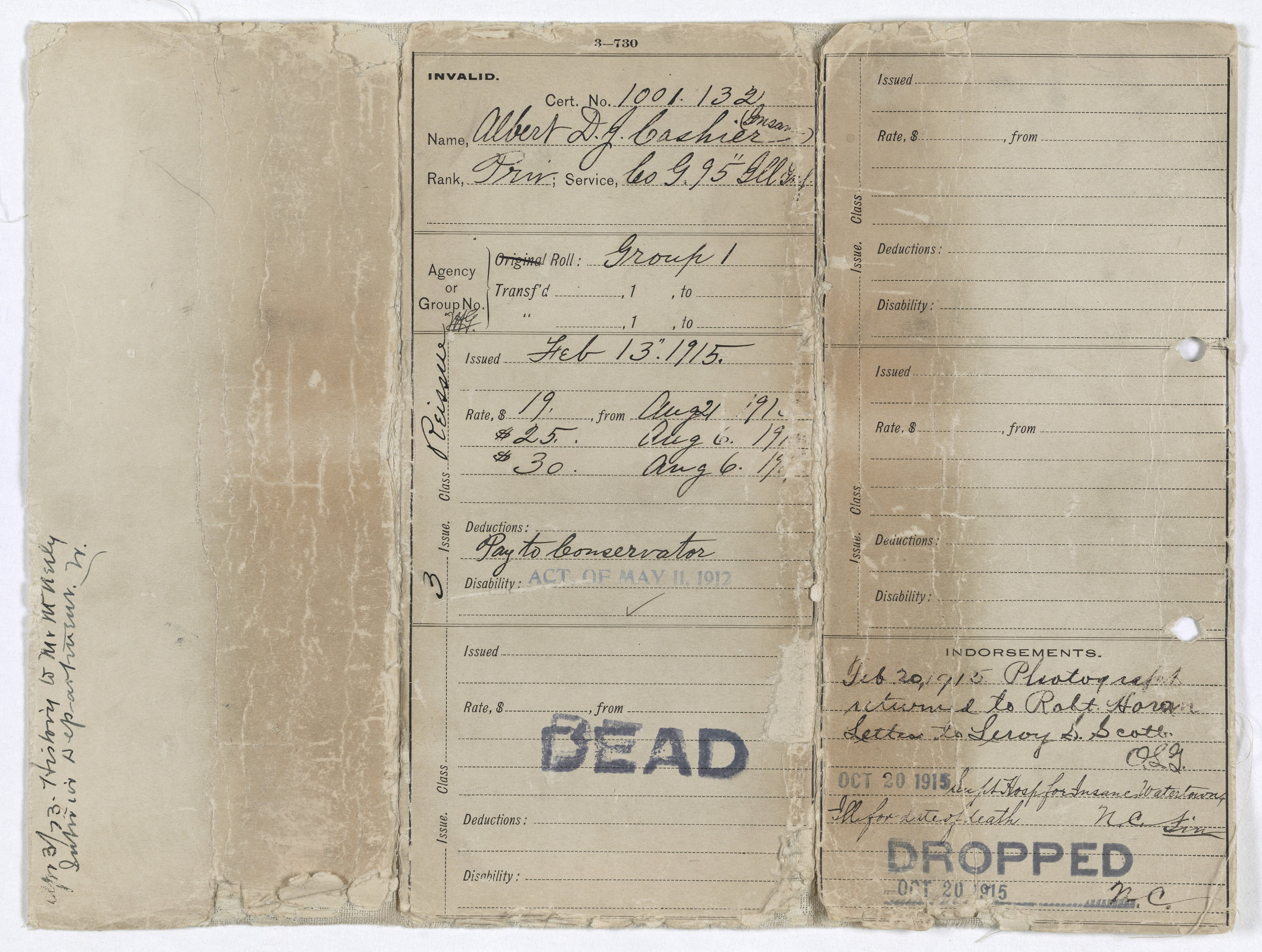 Albert's pension approval, though it came too late. Albert did not go out the way he would have wanted, that's for sure. I'm glad to be spreading the word about how incredible he was.   Courtesy of the National Archives and Records Administration