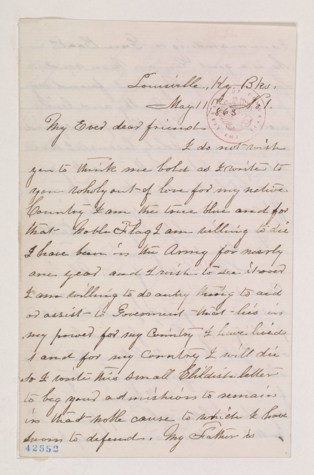 """Our apple jack-drinking friend Ella Reno wrote to Abe Lincoln begging him to let her stay a soldier after she was discovered. Some excerpts (click on the link for the whole delightful transcript):""""My Ever dear friend—I do not wish you to think me bold as I write to you wholy out of love for my native Country…I have been in the Army for nearly one year and I wish to see it over I am willing to do anny thing to aid or assist…I love liberty So I write this to ask you as a Child would ask a Father iff I can remain in your Service being as I have left my own Father and Adoupted you in stead…I am a Lady in every respect and so I will remain answer if you will pleas be so kind…pleas excuse my poor writing and Speling also."""" - Courtesy of the Library of Congress"""