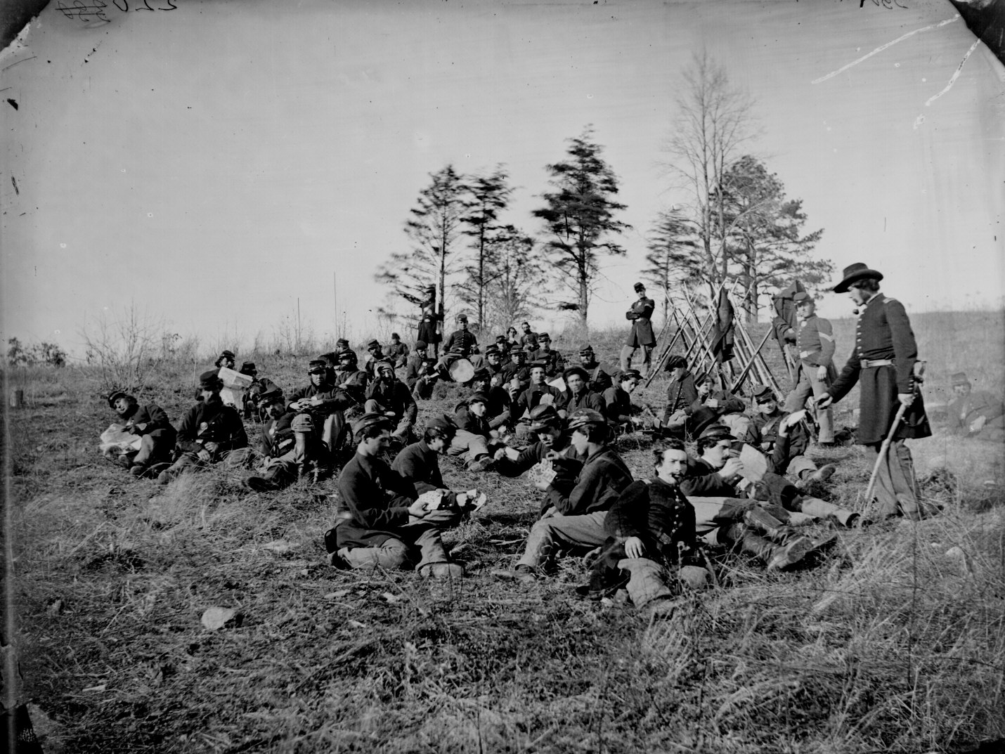 Union soldiers resting after drilling Petersburg, VA, 1864. Courtesy NARA