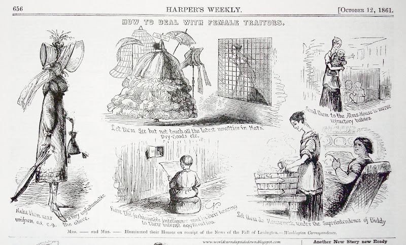 This Harper's Weekly cartoon completely belittles women and their spy work, while also making it clear that they were a very common occurrence.   Wikicommons