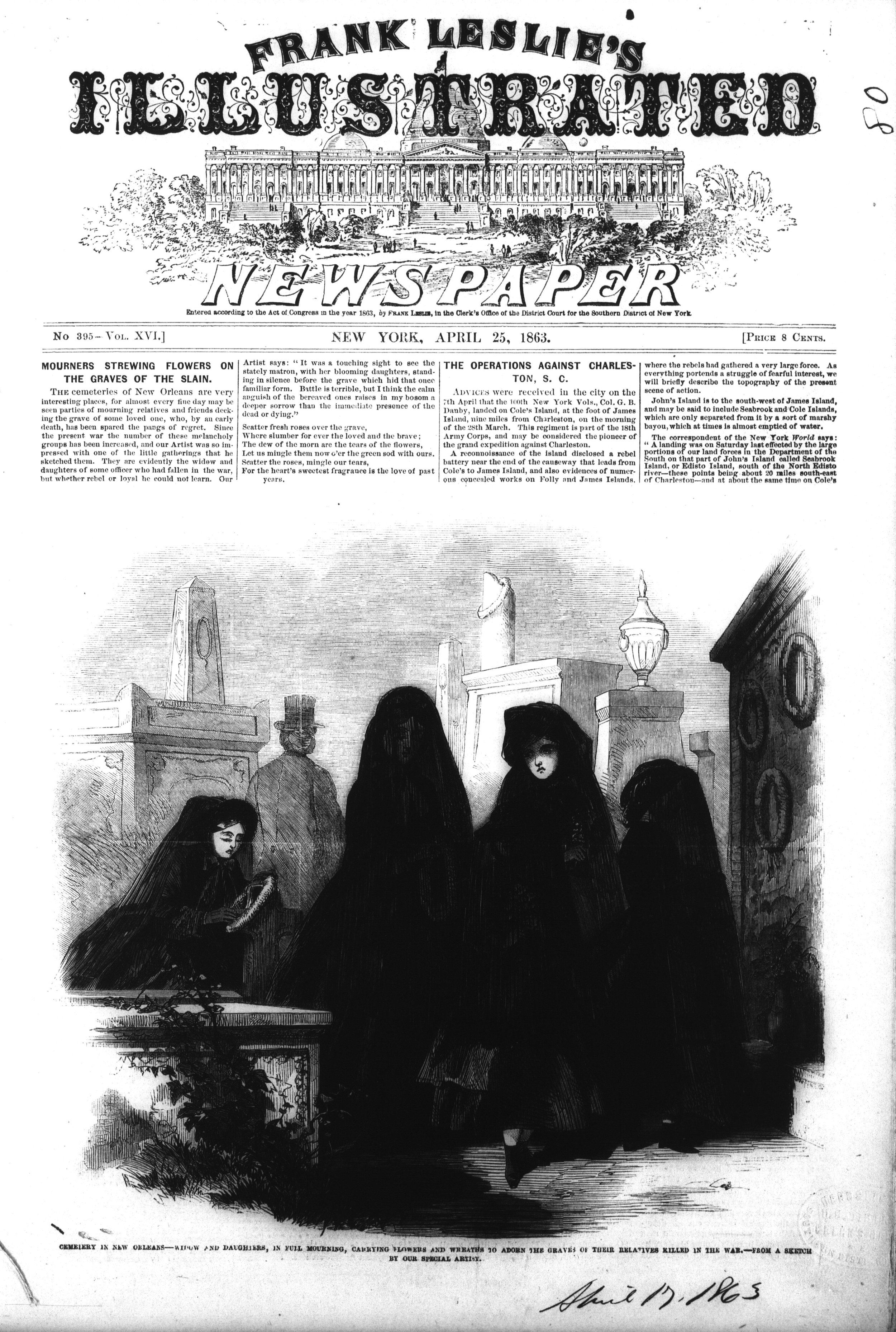 During the Civil War and well before it, the task of mourning fell to women. They were considered the most in touch with the spirit. Dressed in black, they were the embodiment of grief.   From Frank Leslie's Illustrated Weekly.
