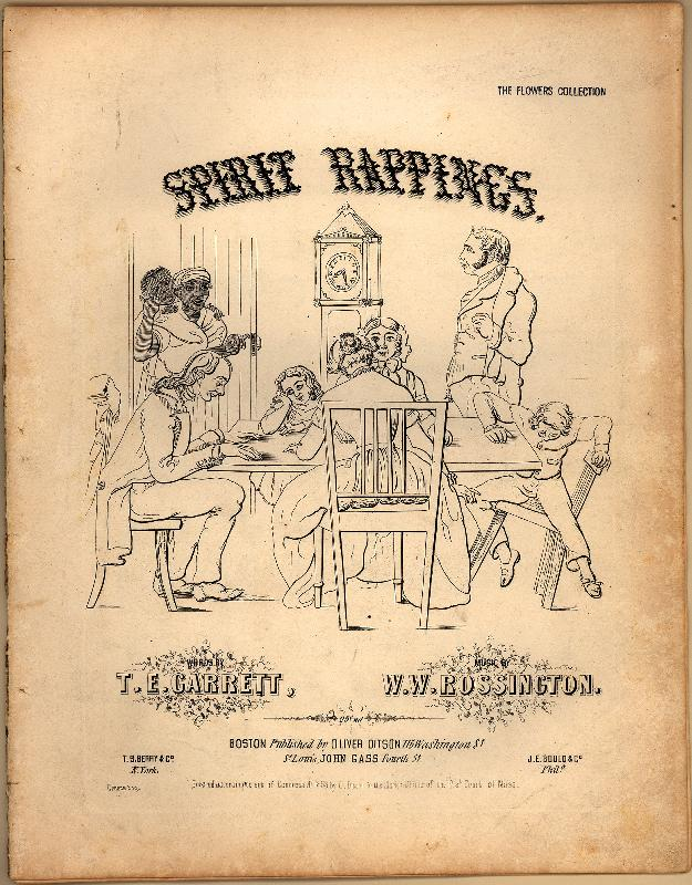 """Just hanging out at home, summoning spirits. NBD.   The sheet music cover art for """"Spirit Rappings,"""" written by J. Ellwood Garrett. Courtesy of Duke University Library."""
