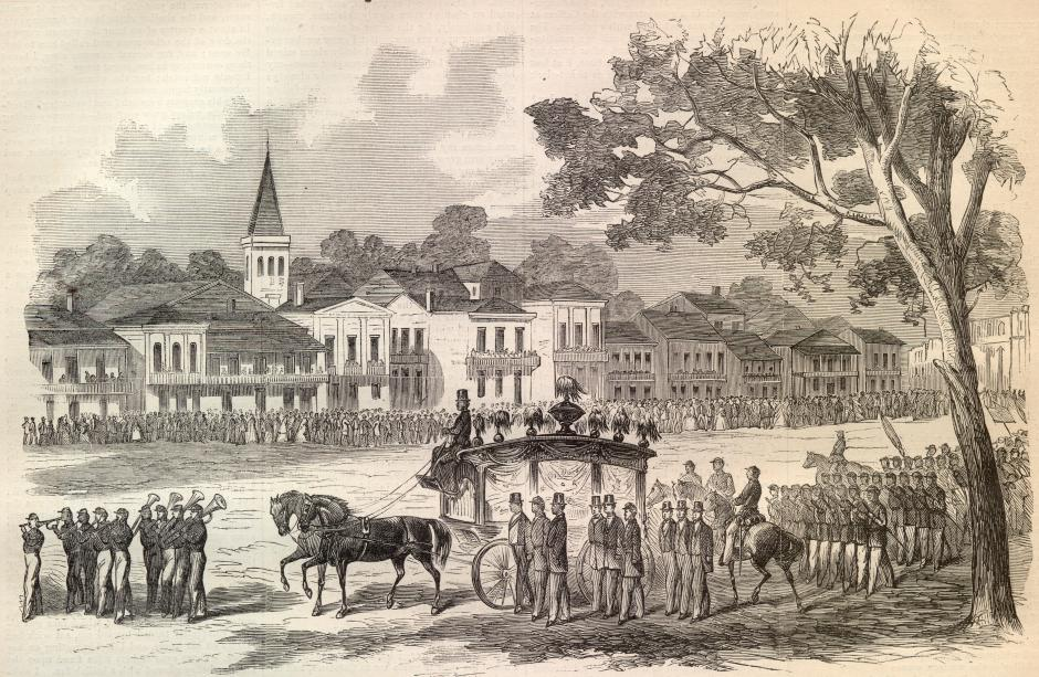 The funeral of Andre Cailloux, the first african american soldier to die for the union. his spirit later rose from the dead to tell his followers to keep on fighting. - Wikicommons