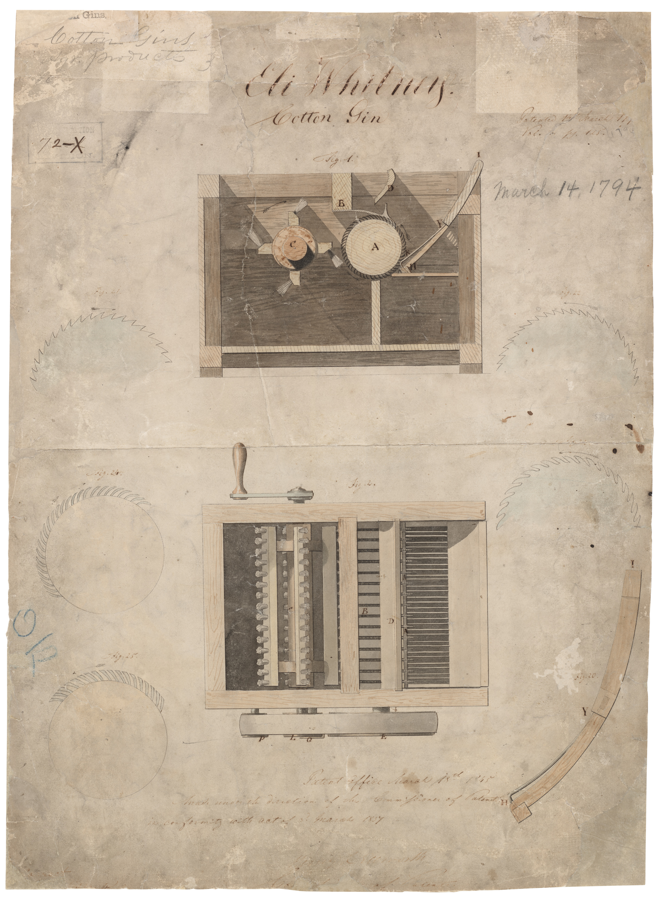 A mockup of the cotton gin - good idea, except that it meant a boom in the demand for slaves.   Courtesy of the National Archives and Records Administration