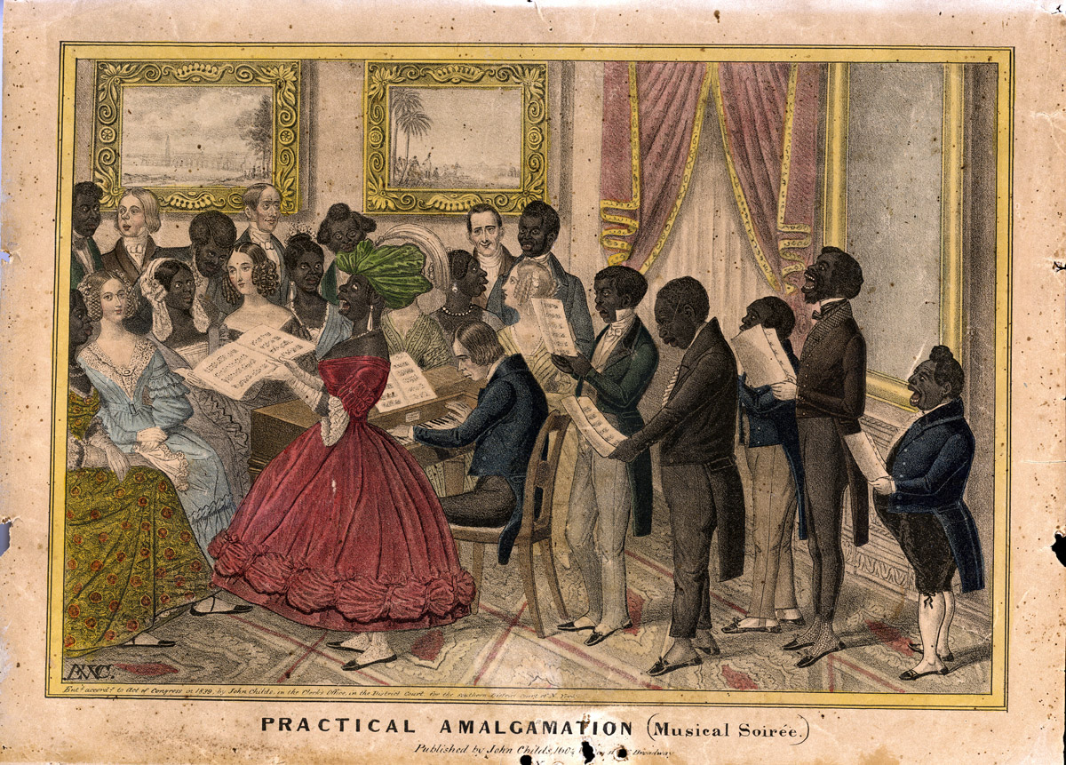 Amalgamation - the idea of combining white and black people socially - was something that Southerners both made fun of and feared.   Courtesy of the American Antiquarian Society