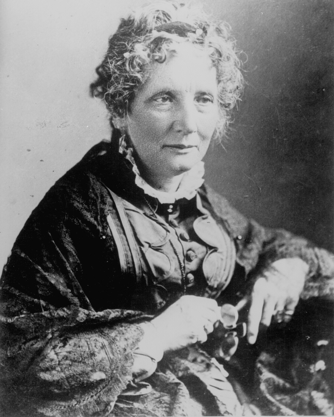 Harriet Beecher Stowe, who wrote the incendiary Uncle Tom's Cabin in 1852. It was the best-selling book of the century, and one that Abraham Lincoln supposedly quipped helped start the Civil War.   Wikicommons