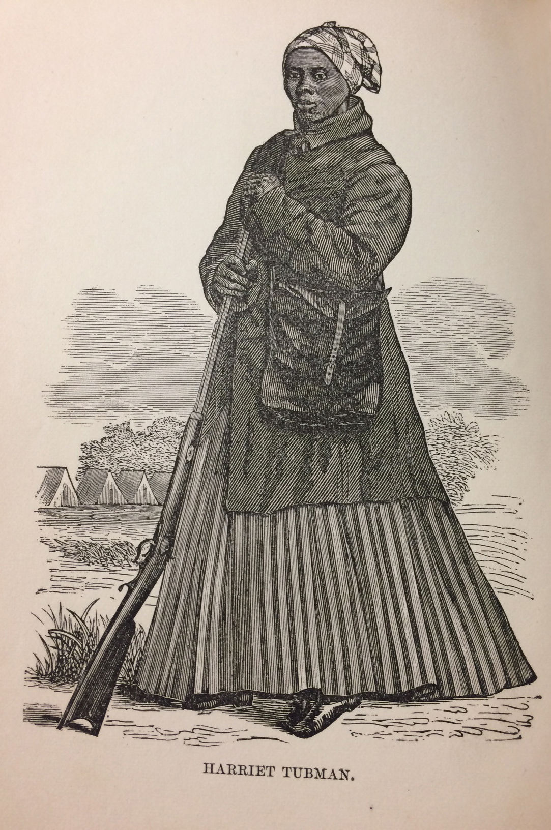 "An illustration of Harriet looking large and in charge, gun in hand, from her biography ""The Moses of Her People: Scenes in the Life of Harriet Tubman.""    Courtesy of the Cayuga Museum."