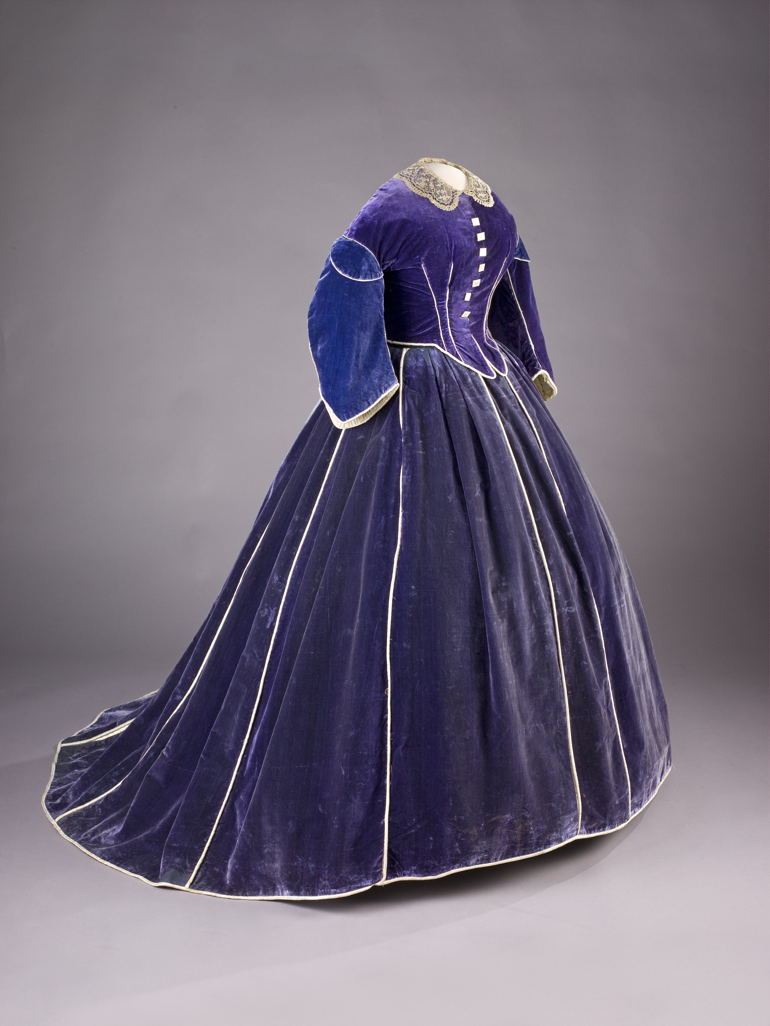 A beautiful purple velvet dress with an overcoat, most certainly made by Lizzie Keckley. I saw this on display, once, at the National Museum of American History! Very cool, and still in good shape considering. If only we had been as interested in First Lady fashions when Mary tried to sell all of her old gowns.   National Museum of American History