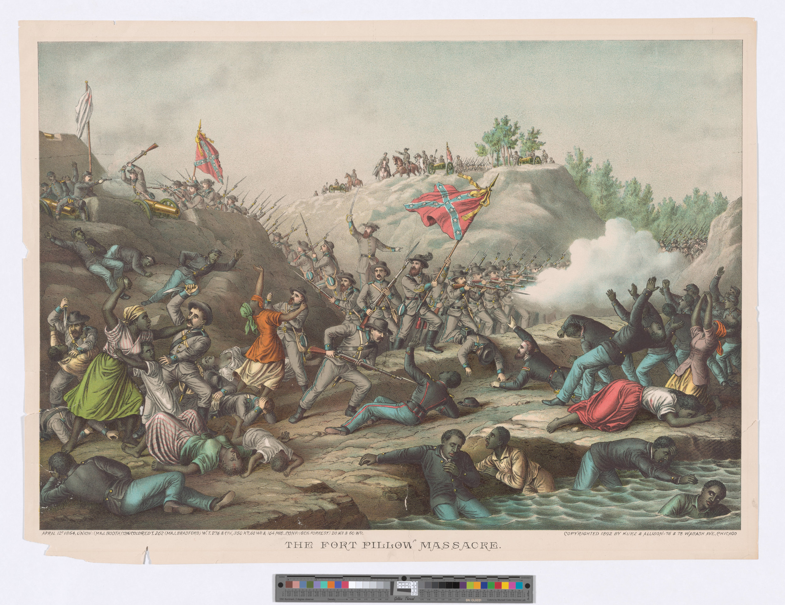The Fort Pillow massacre was one of the darkest and most controversial moments of the war. Though the African American Union soldiers surrendered, the Confederate commander thought he'd make a jolly point and let his soldiers kill them all. Horrifying. - The Jay T. Last Collection of Graphic Arts and Social History, Huntington Digital Library.