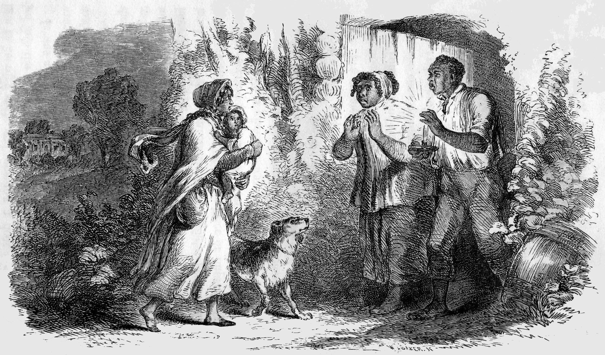 """Eliza comes to tell Uncle Tom that he is sold and that she is running away to save her child."" One of the many effective illustrations from Uncle Tom's Cabin. (The National Era archive)."
