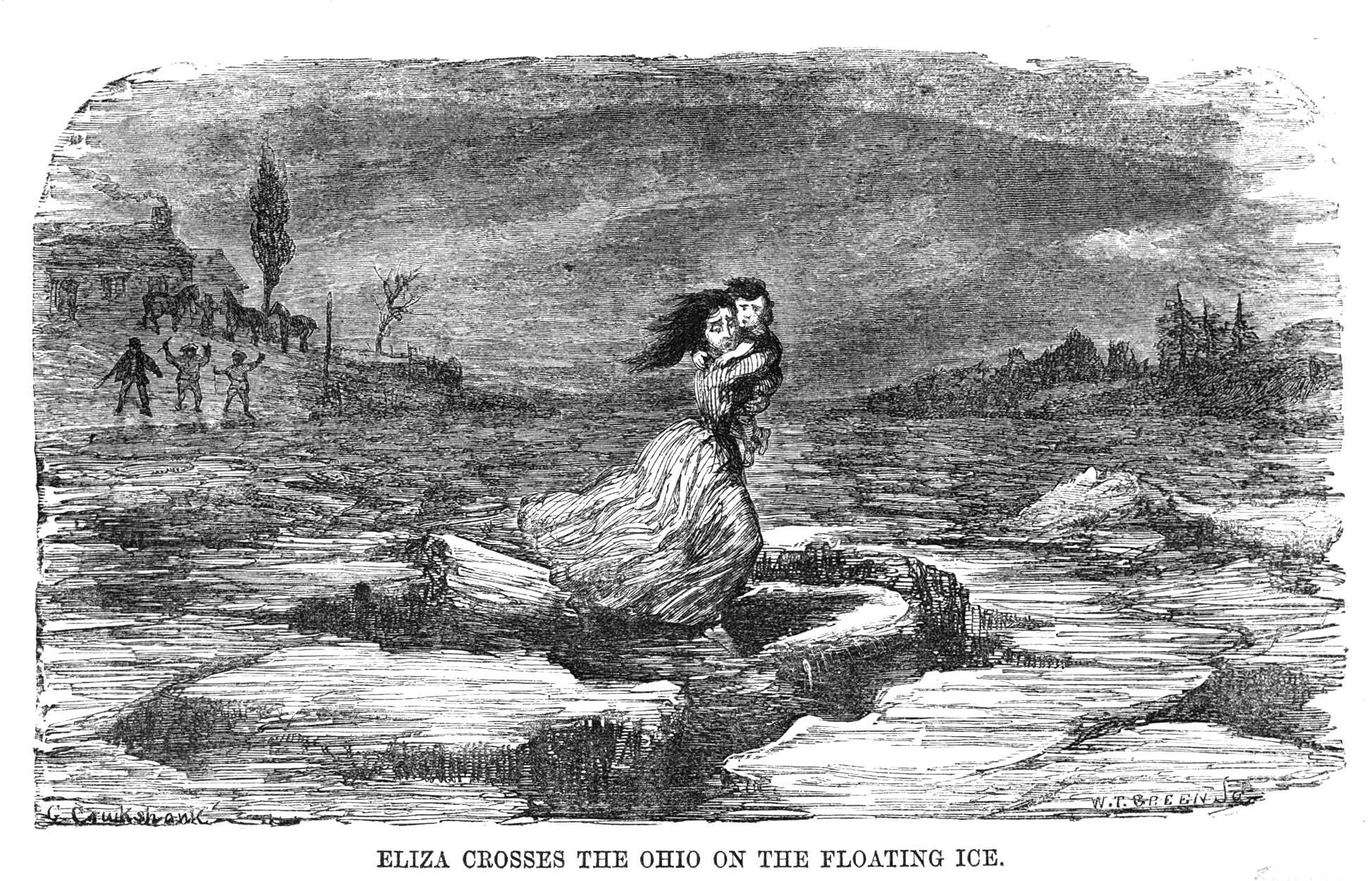 An illustration of Eliza and her son running over the icy river. Yes, you're right: they do look awfully white…hmm. - Illustration from Uncle Tom's Cabin, Archive.org