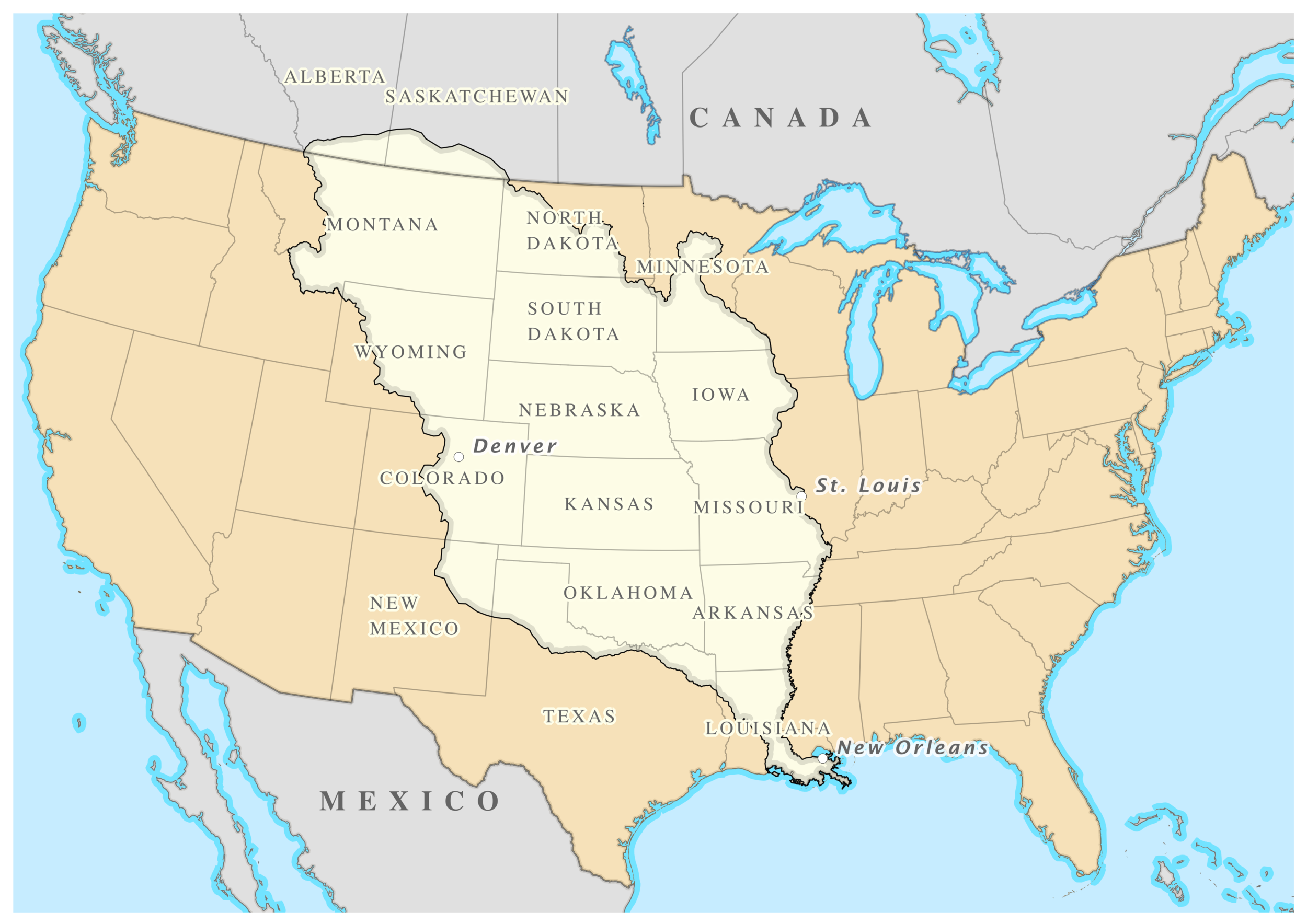 The Louisiana Purchase doubled the size of the United States. Thomas Jefferson must have been pretty pleased with himself about that one. - Courtesy of the Natural Earth and Portland State University.