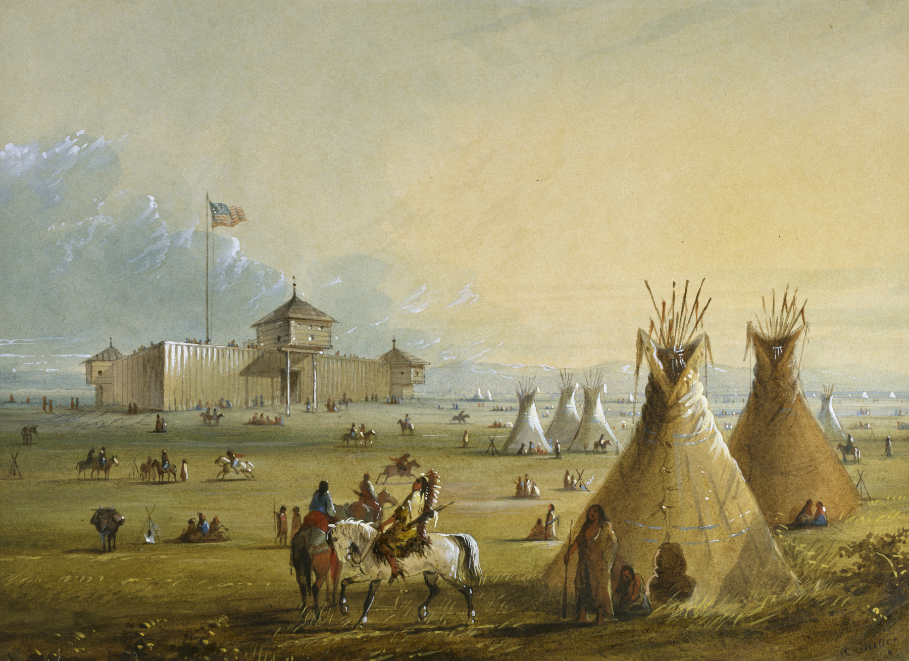 """Founded by William Sublette and Robert Campbell, Fort Laramie lay at the crossroads of an old north-south Indian trail and what became known as the Oregon Trail.  Here you see the often uncomfortable clash of native and European cultures.  """"Fort Laramie""""   by Alfred Jacob Miller. Wikicommons."""