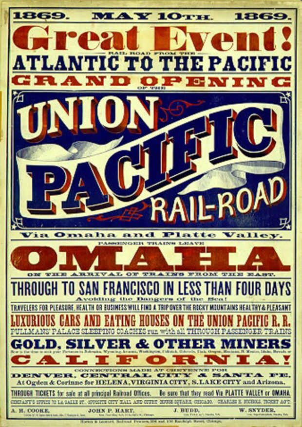 When the railroad finally stretched all the way across the country after the Civil War, the West beckoned to many a traveler. Courtesy of the National Archives and Records Administration.