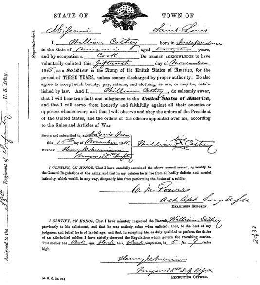 Cathay's enlistment forms. Get it, Cathay!   Courtesy of the National Archives and Records Administration