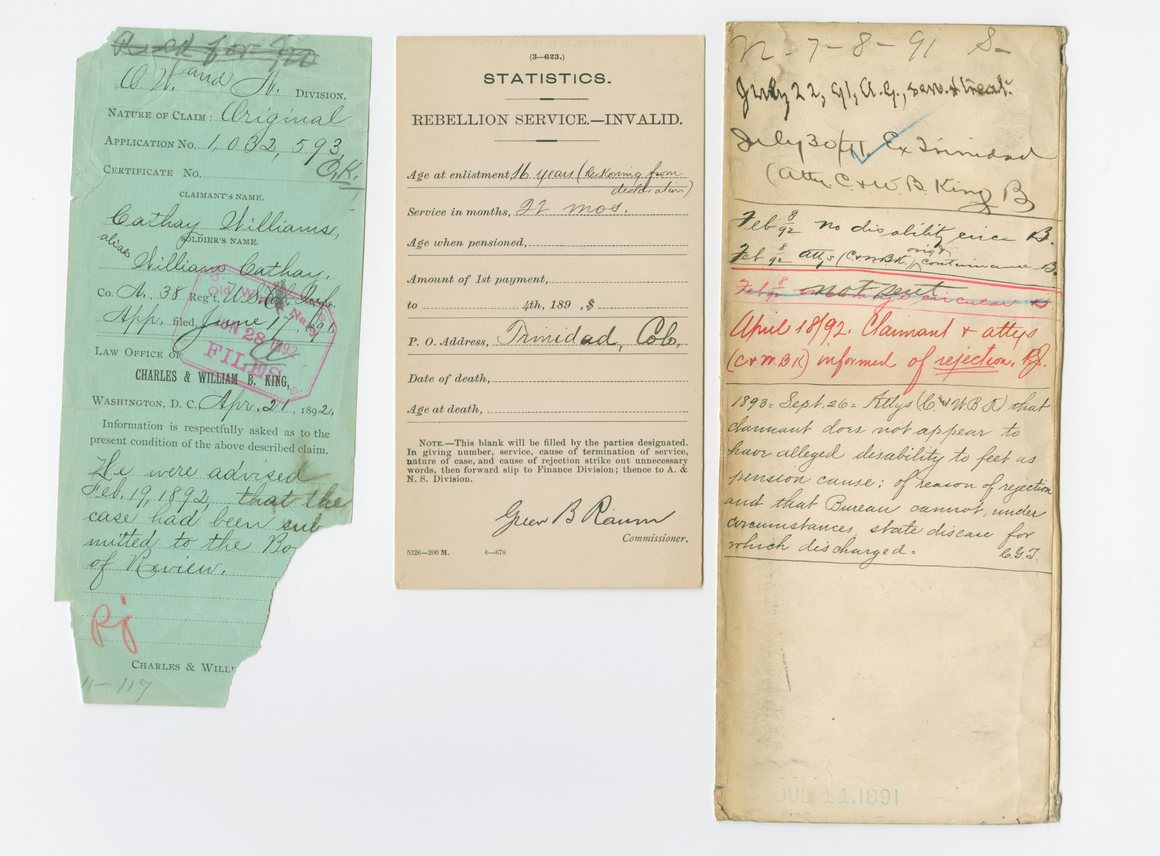 Cathay's disapproved pension documents. Oh, America…you really bungled the whole 'pension for ladies' thing.   Courtesy of the National Archives and Records Administration