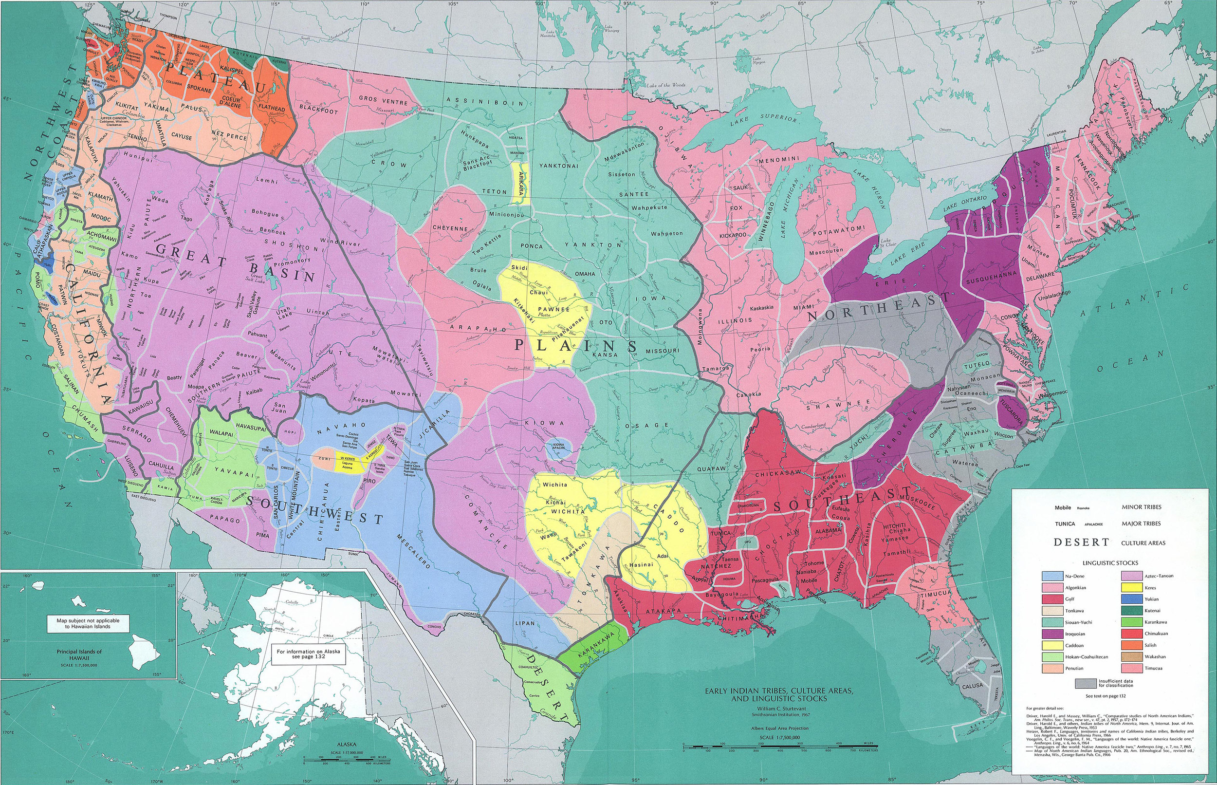 A handy map illustrating the different Native American tribes around America and their traditional lands. I can't seem to find a consensus about which term is most respectful to use: Native American, or Indigenous American, or American Indian, so I've used them all and kept my fingers crossed. Map from Historyonthenet.com. There's another cool map that shows tribes before colonization,  which you can find here .