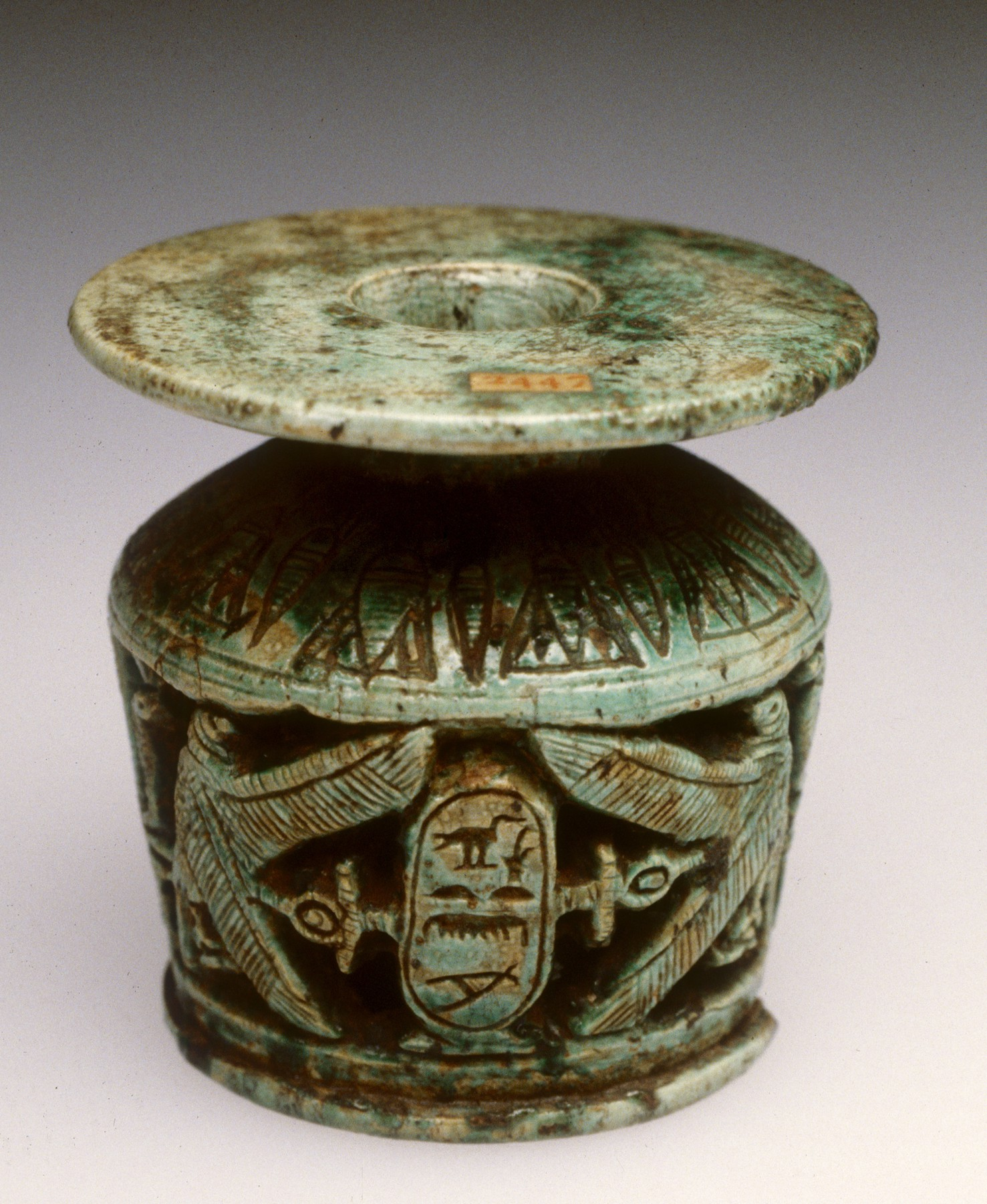 This small cosmetic vessel belonged to Meretnubt, a daughter of King Thutmose I (1504-1492 BCE), and would have held some of her makeup. The Egyptians loved putting their beautifying liquids into cute little jars.   Courtesy of the Walters Art Museum