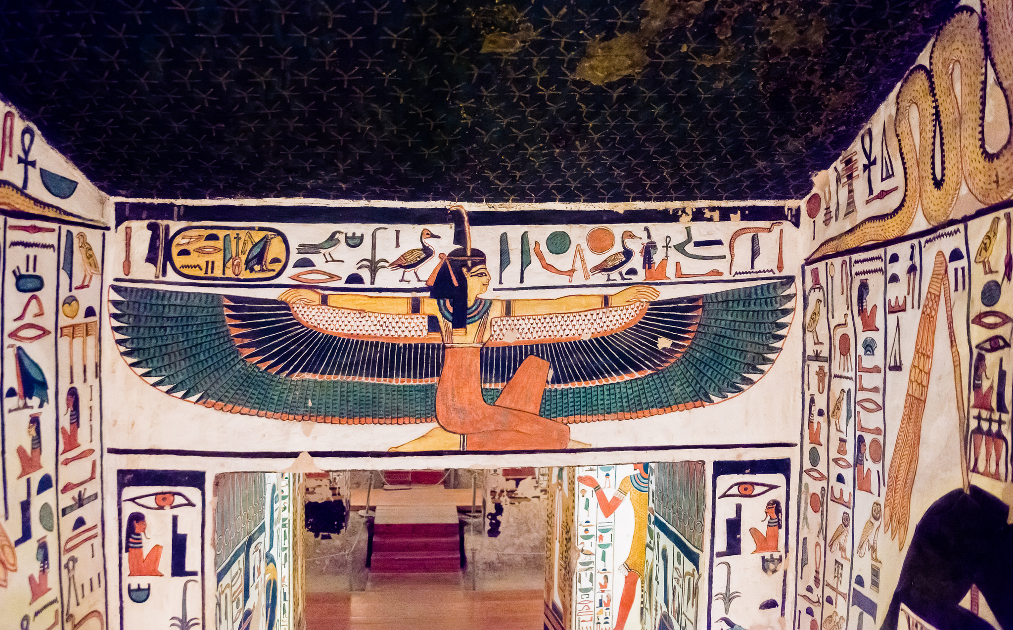 Nefertari spreads her wings and says WELCOME! This image comes from the entrance to her fabulous tomb. Courtesy of kairoinfo4u on Flickr.
