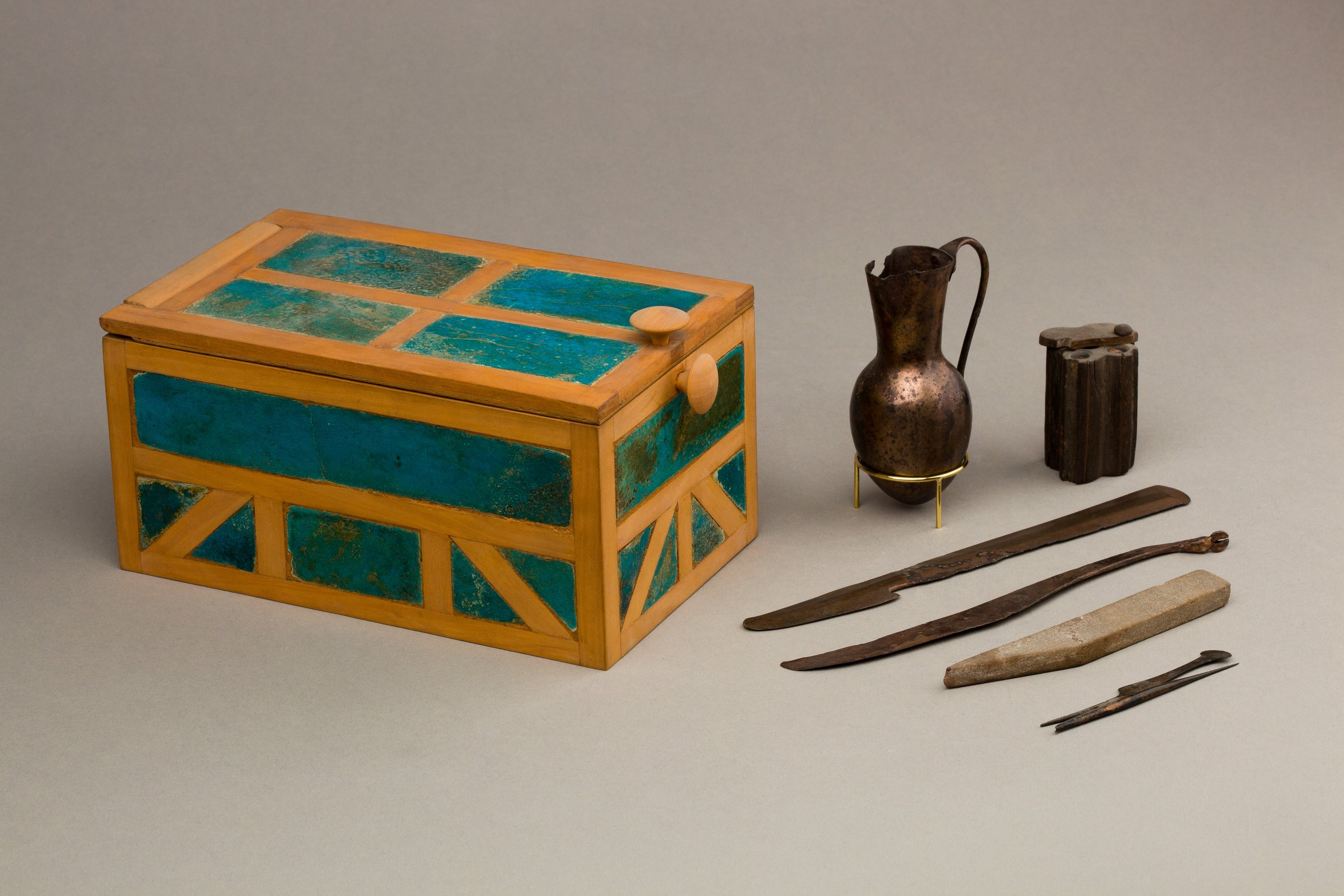 A fancy jewelry box circa 1504–1447 BCE and some nifty tools for putting makeup on with. The ancient Egyptians knew how to get all done up.   Courtesy of the Metropolitan Museum of Art