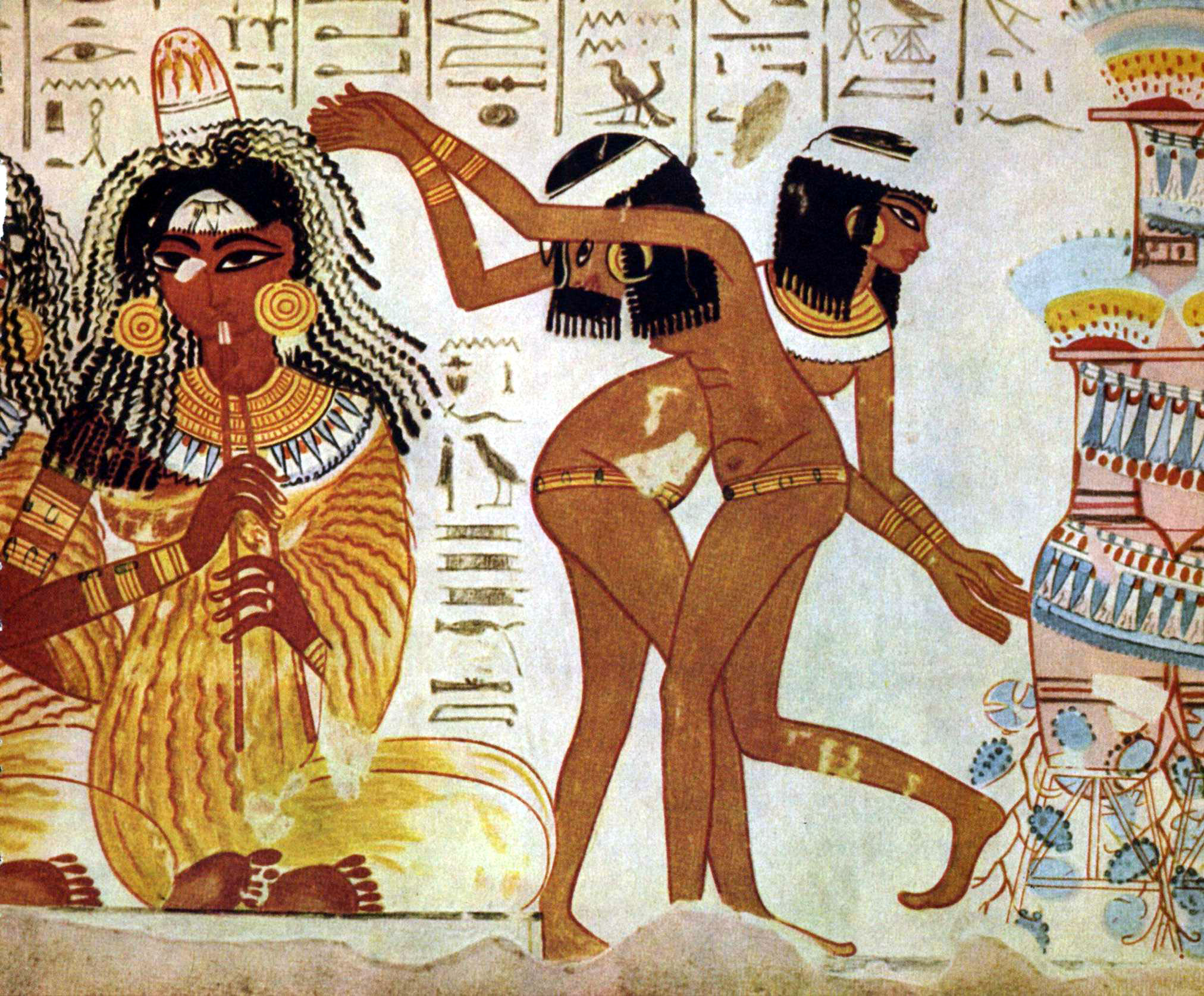 Musicians and dancers shake their money makers in a fresco found at the Tomb of Nebamun.   Wikicommons